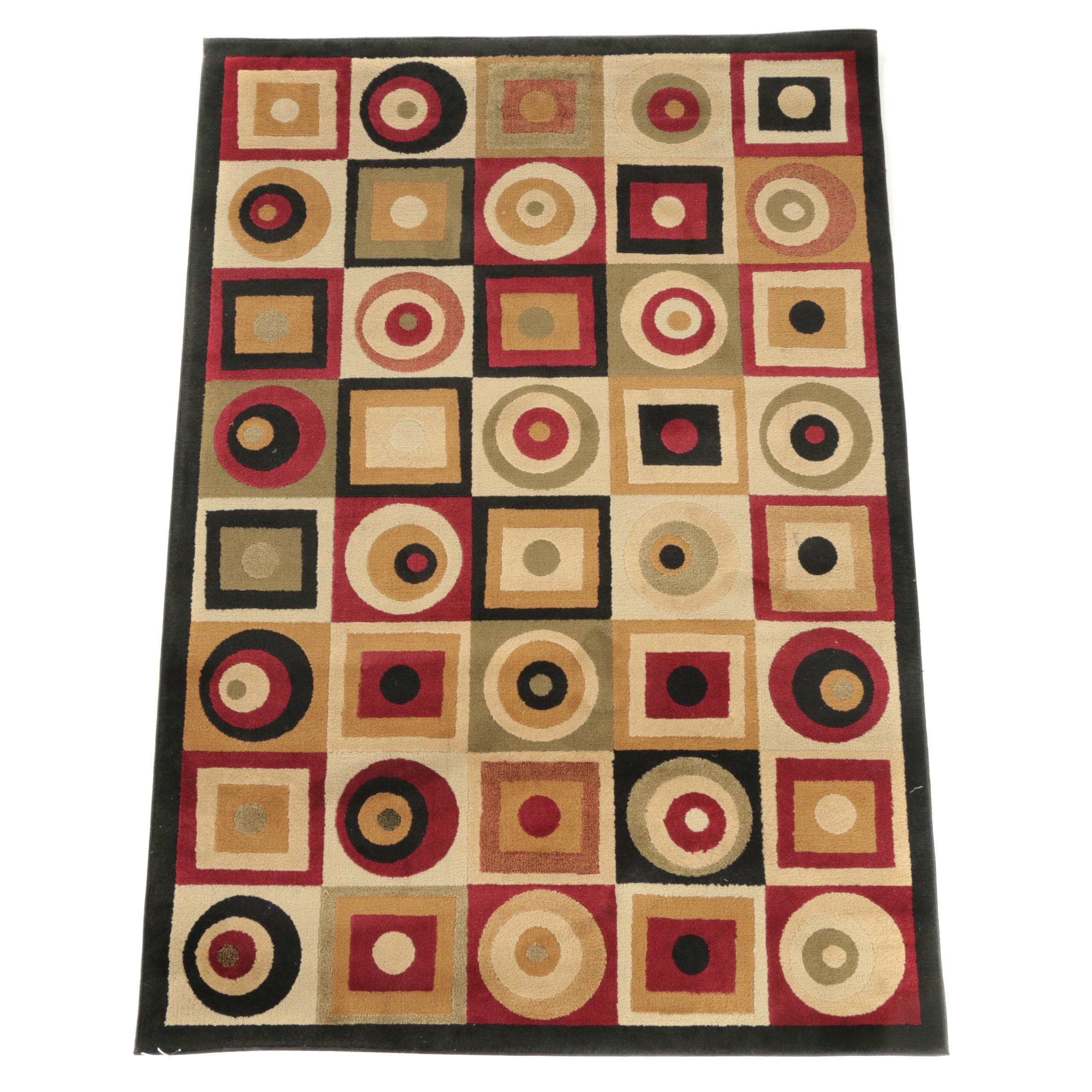 """Power-Loomed Merinos """"Rounds and Squares"""" Area Rug"""