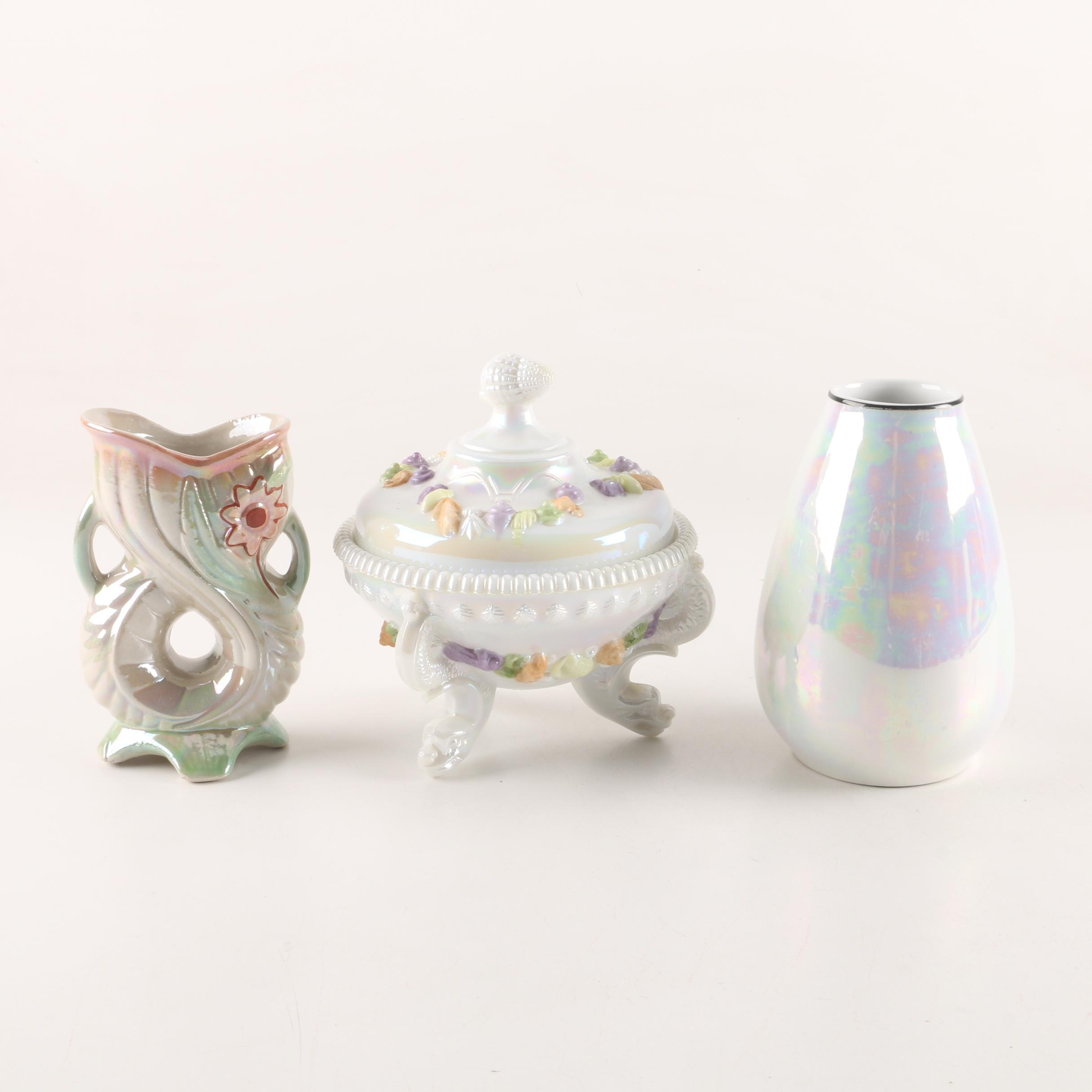 Vintage Argonaut with Pastel Shells Covered Compote and Lustreware Vases