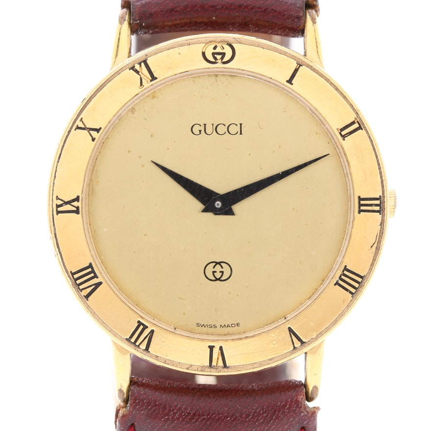 63db83376a4 Gucci Swiss Made Gold Plated Analog Wristwatch with Leather Strap   EBTH