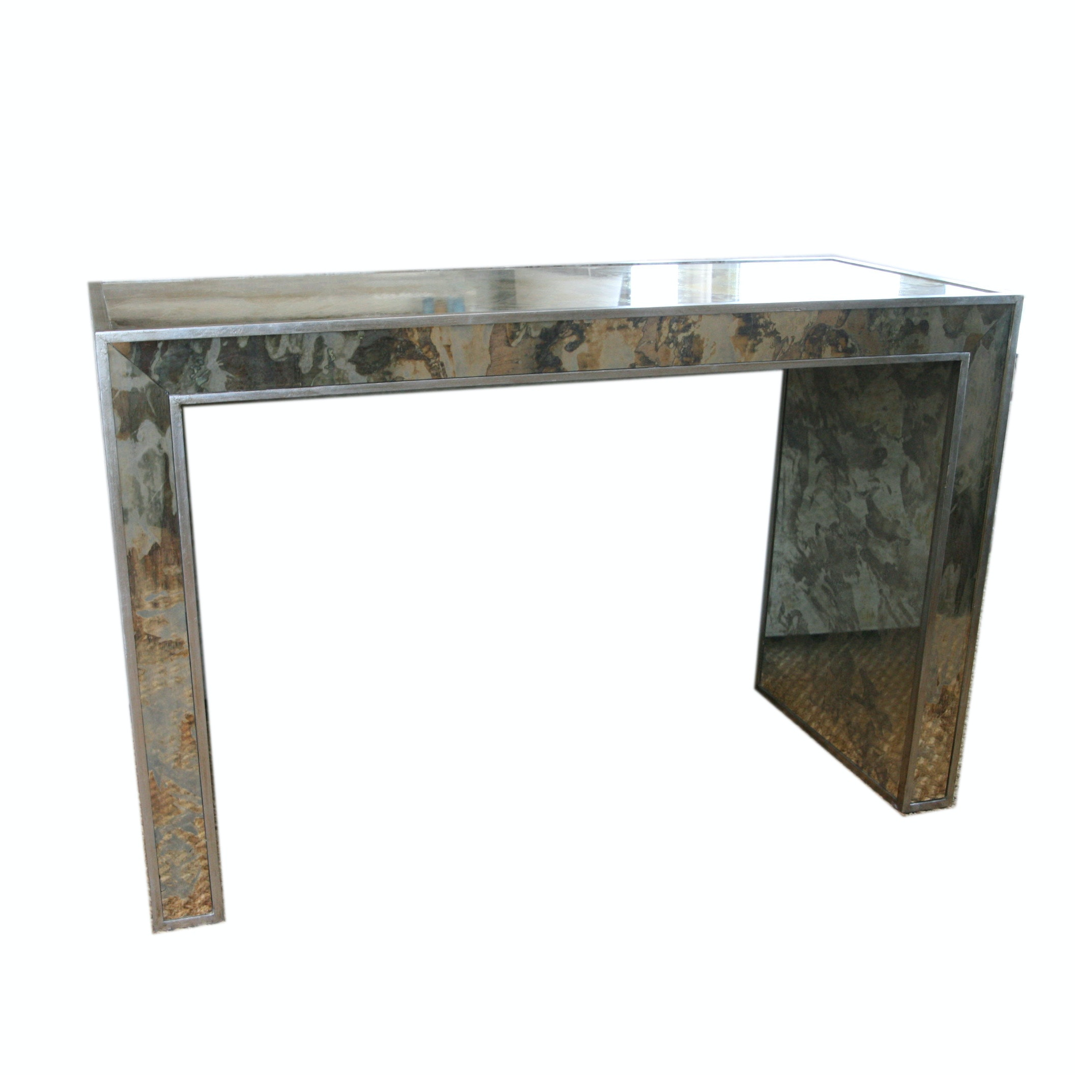 Contemporary Metal Parsons Style Console Table ...