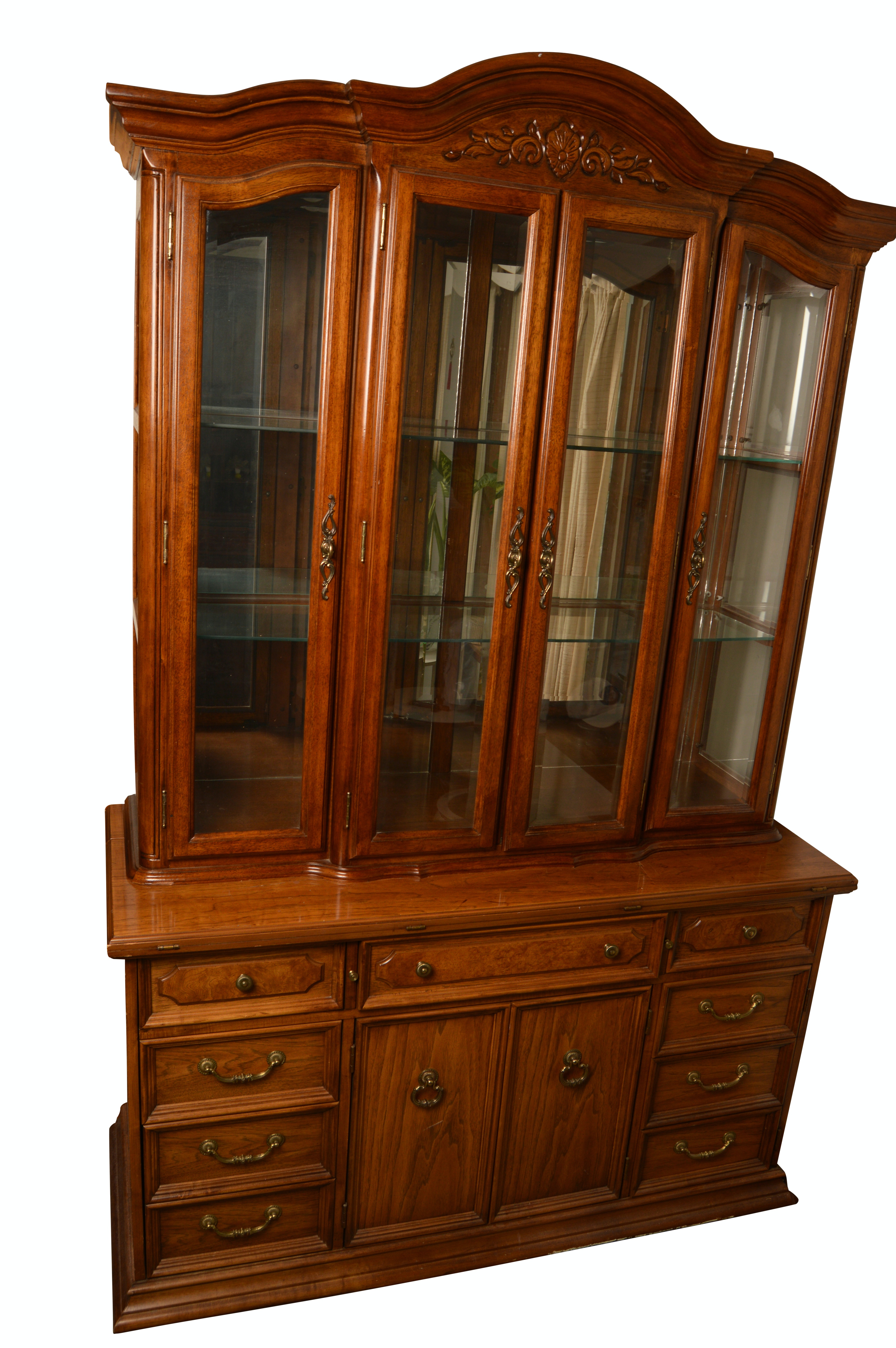 Vintage Two Piece China Cabinet By Thomasville ...