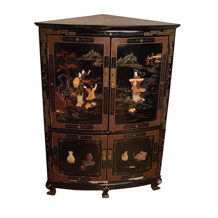 Vintage Chinese Black Lacquered Corner Cabinet