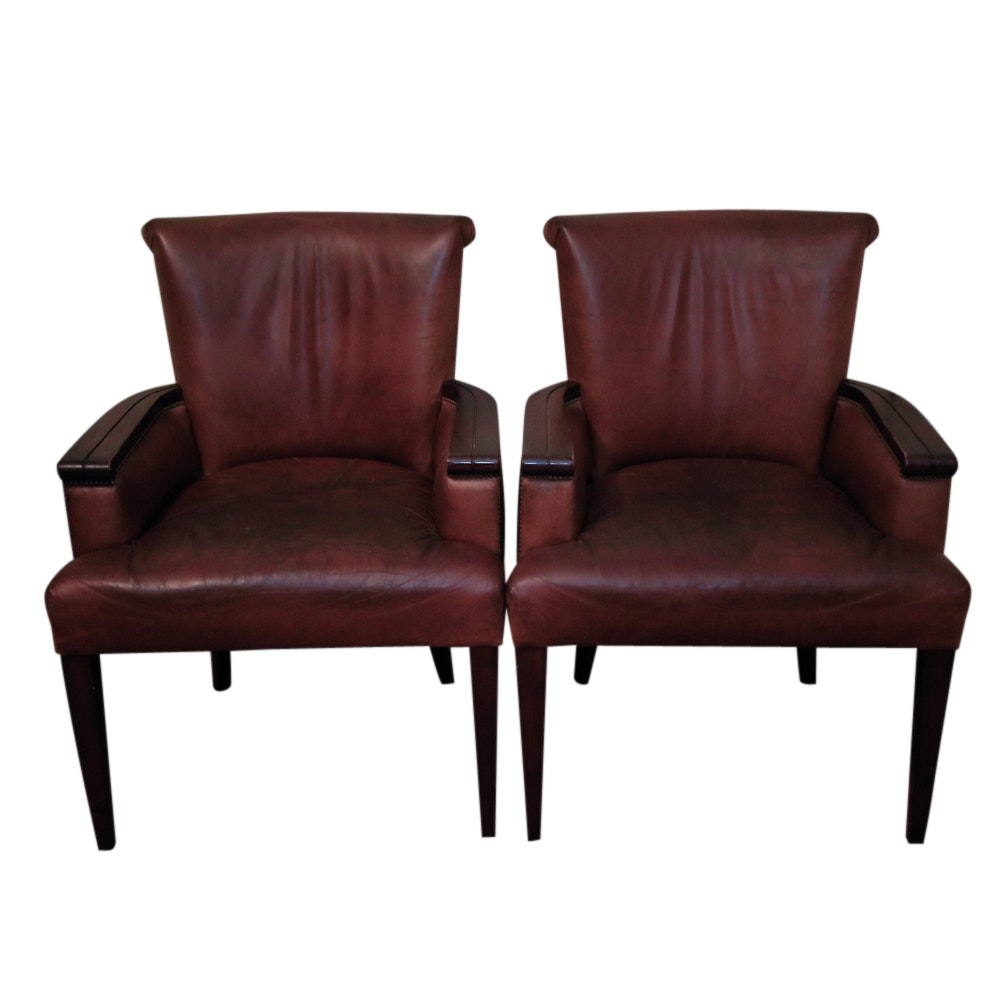 Vintage Brown Faux Leather Armchairs by Nancy Corzine