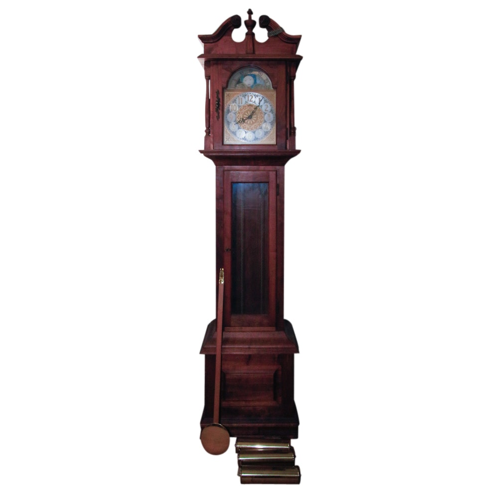 Emperor Clock Co. Grandfather Clock with Moon Phase Dial