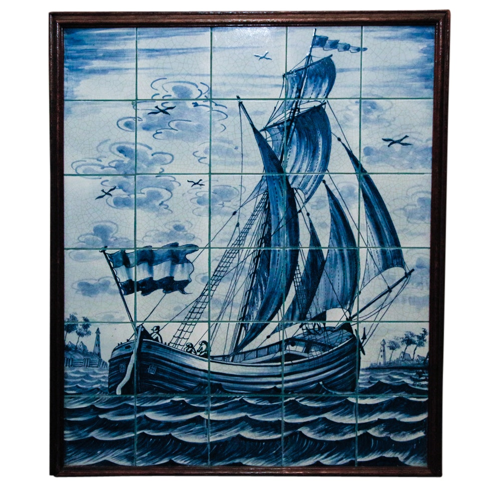 Blue and White Delft Style Ceramic Tile Panel of Sailing Vessel