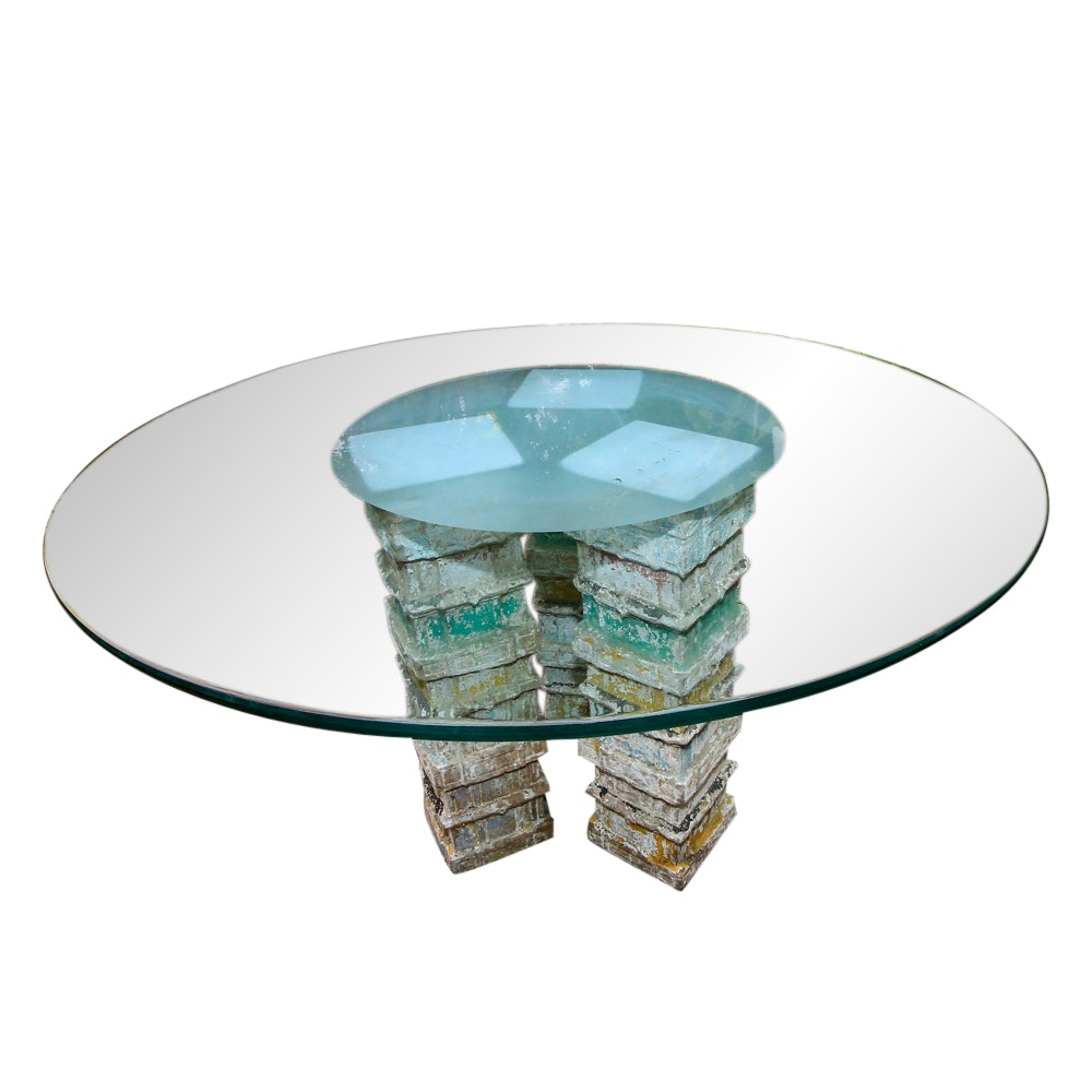 Glass Top Patio Table with Decorative Cement Block Base
