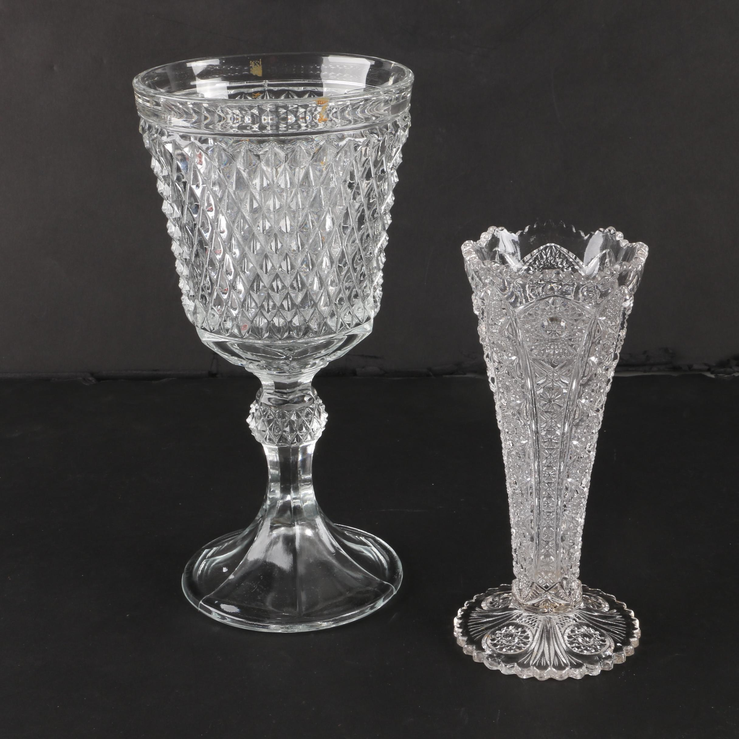 "Vintage Indiana Glass ""Diamond Point"" Footed Urn and Pressed Glass Vase"