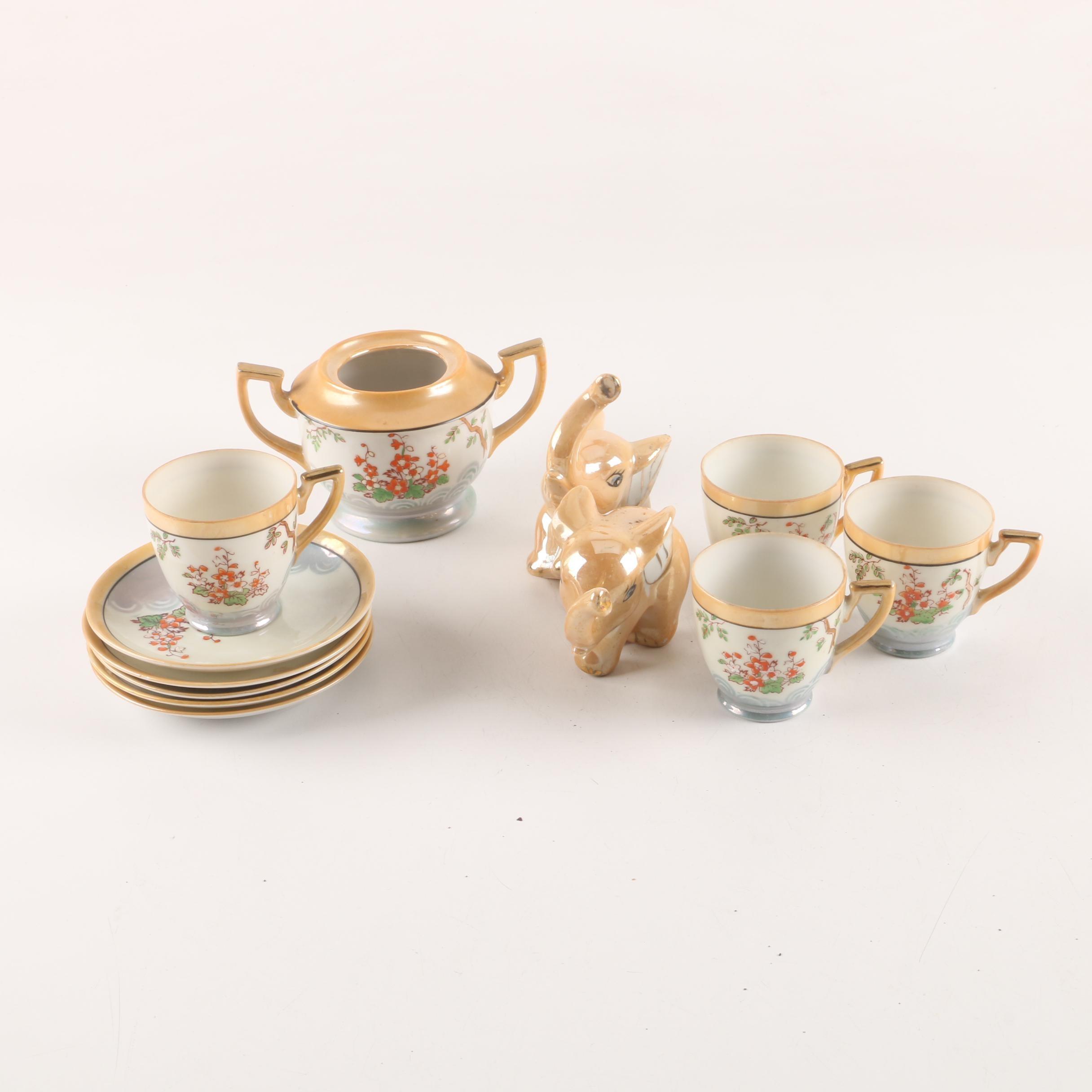 Vintage Lusterware Figurines, Sugar Bowl and Demitasse Cups