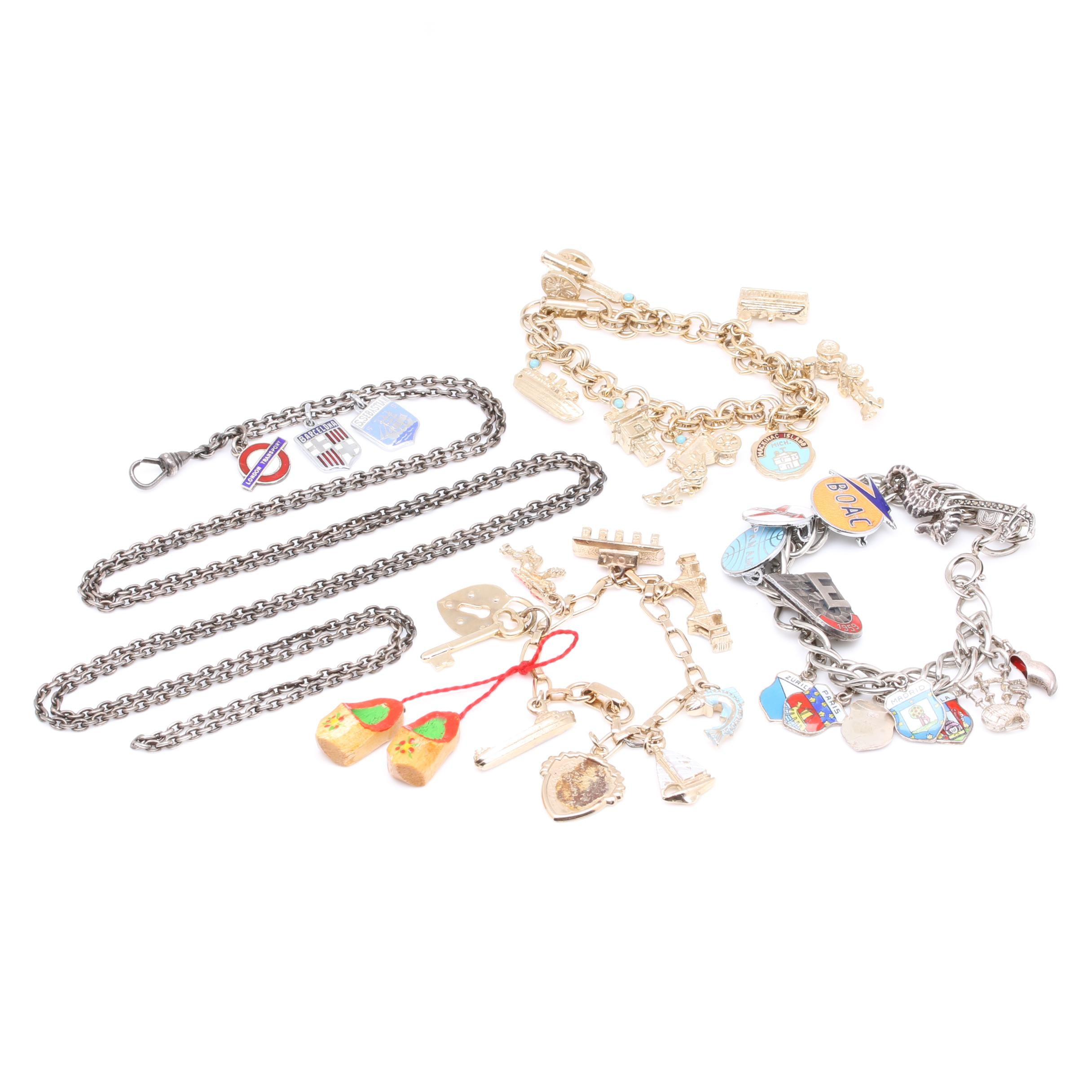 Charm Bracelets and Watch Chain Fob Including Sterling Silver and Wood