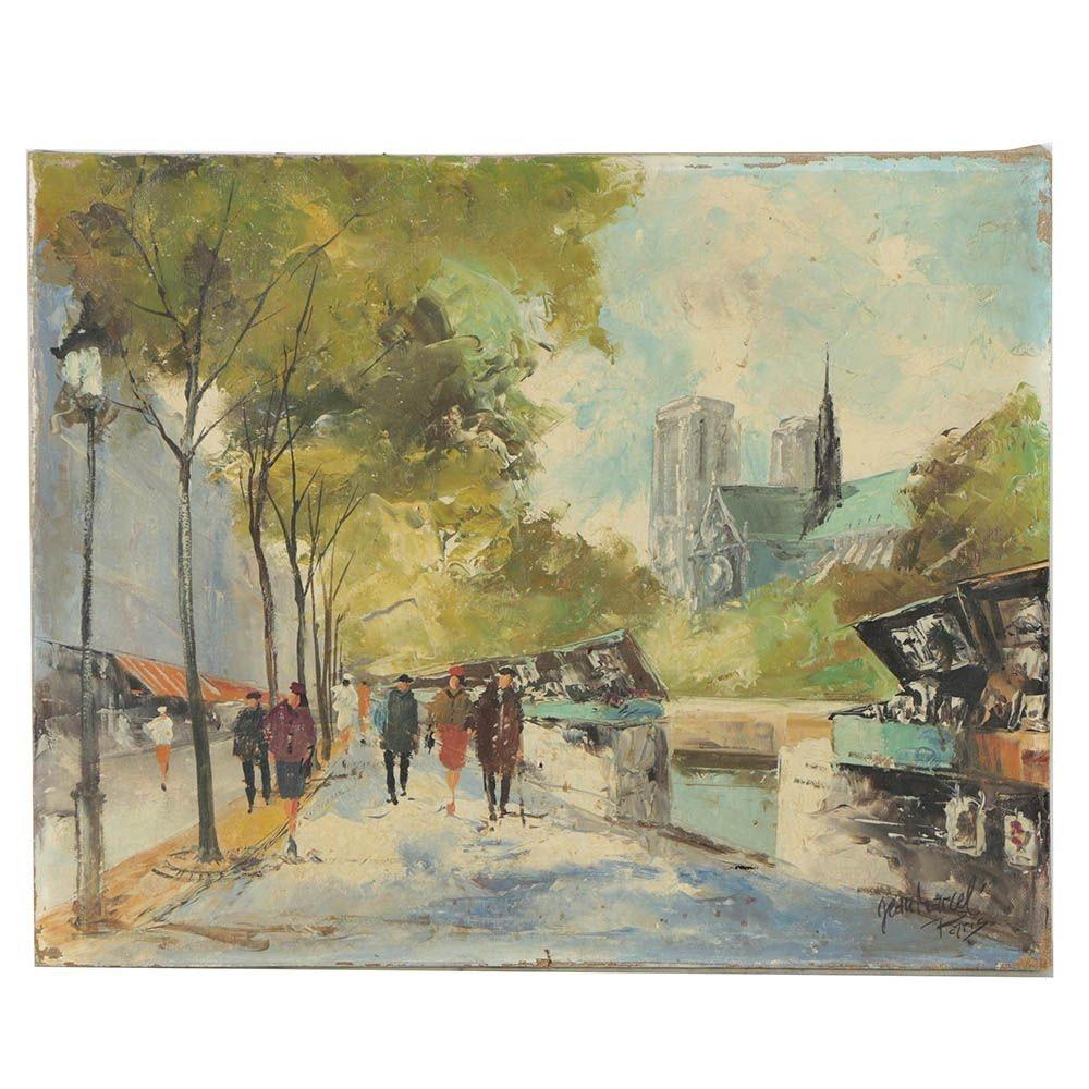 Jean Marcel Impressionist Style Oil Painting of Parisian Street Scene