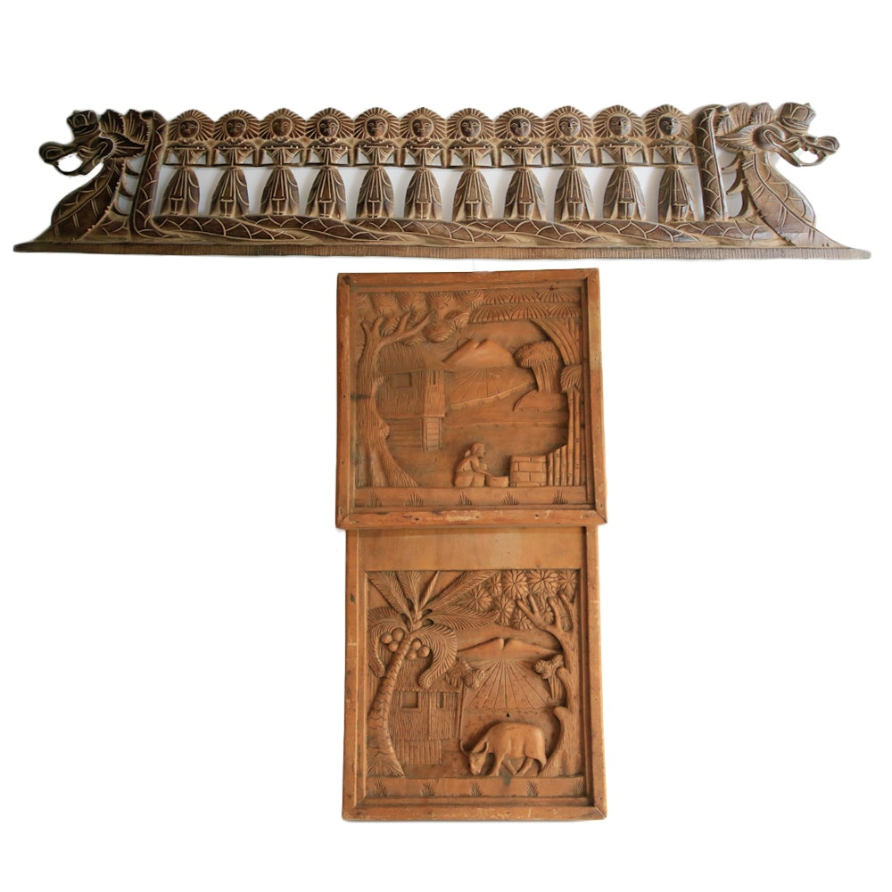 Southeast Asian Carved Wood Wall Hangings