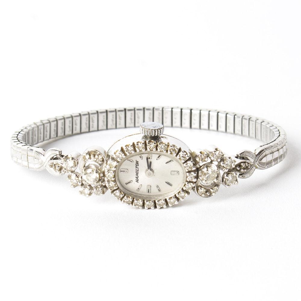 Hamilton 14K White Gold and 0.93 CTW Diamond Wristwatch