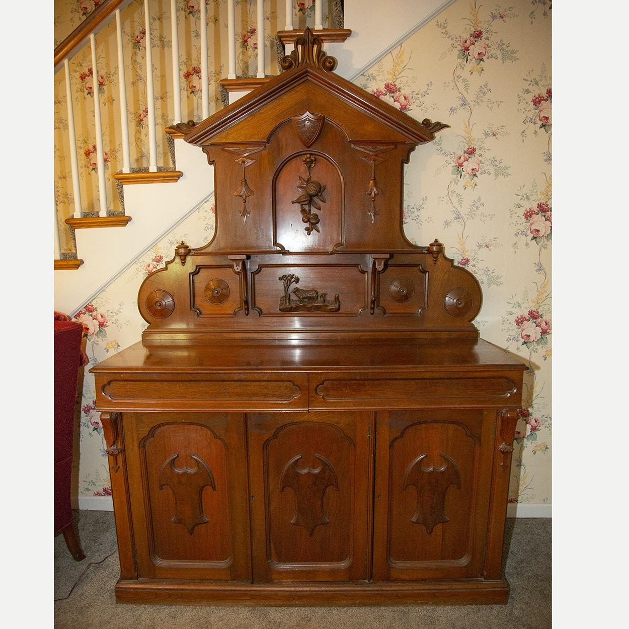 Antique Walnut Victorian Carved Sideboard