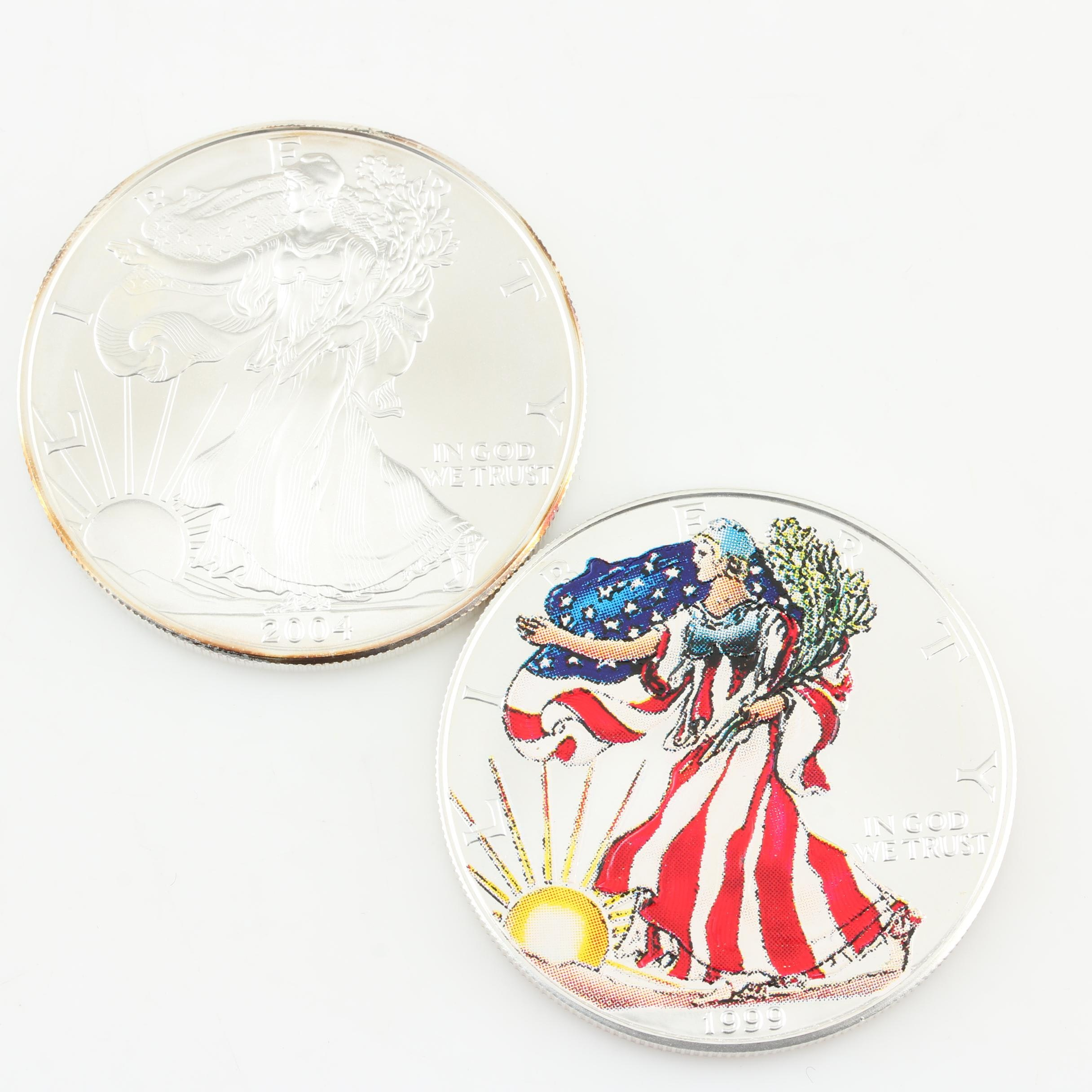 Two Walking Liberty Silver Eagle Bullion Coins