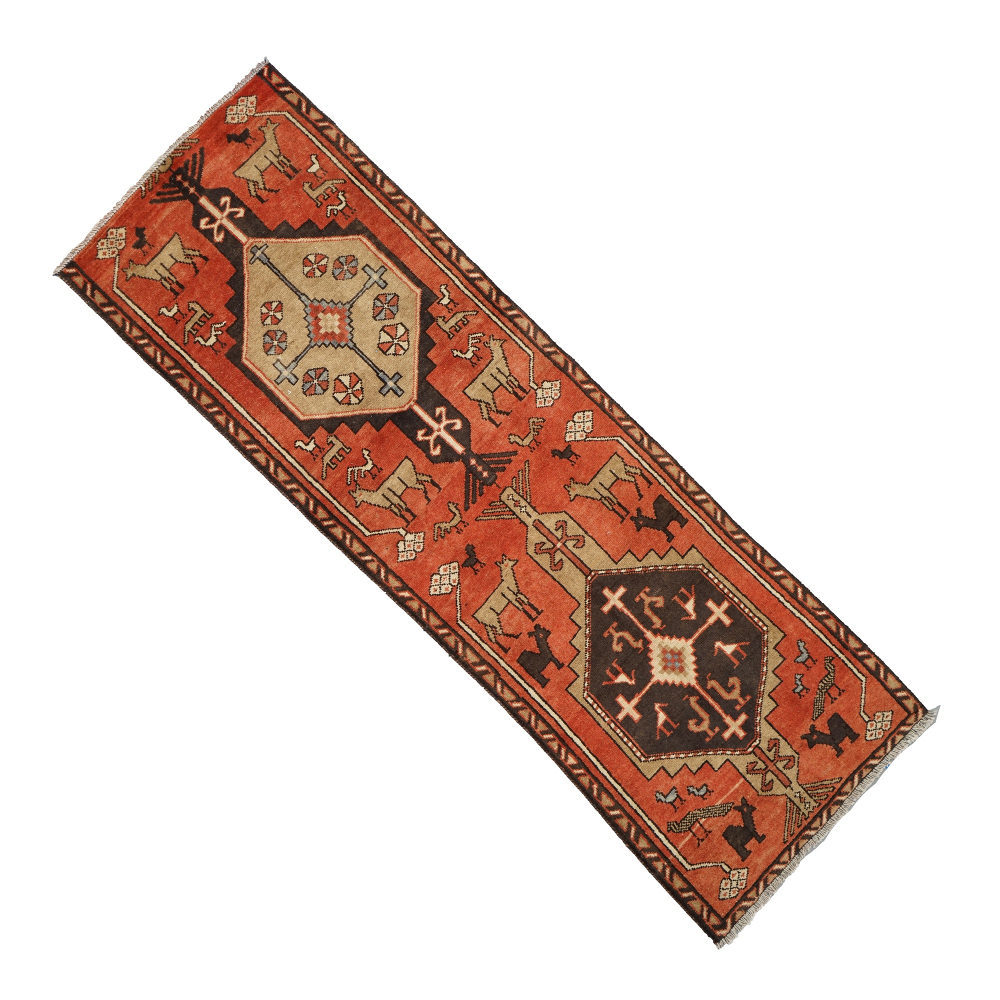 Hand-Knotted Persian Pictorial Wool Carpet Runner