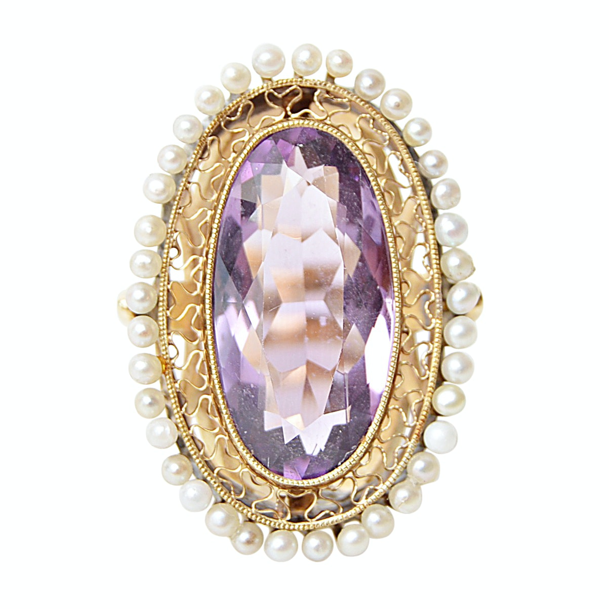 Vintage 14K Yellow Gold Amethyst and Seed Pearl Ring