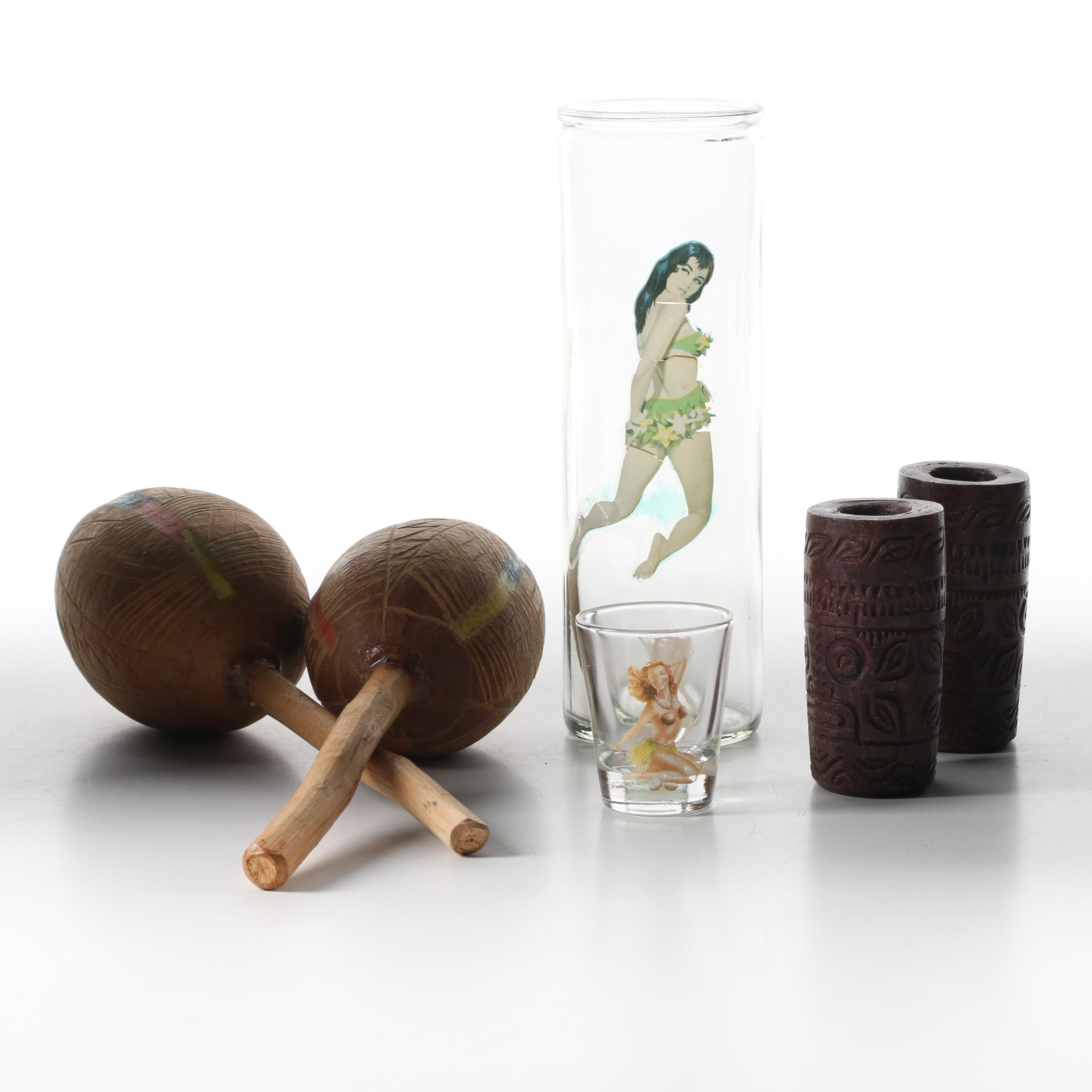 Hula and Pinup Girl Glasses and Other Collectibles