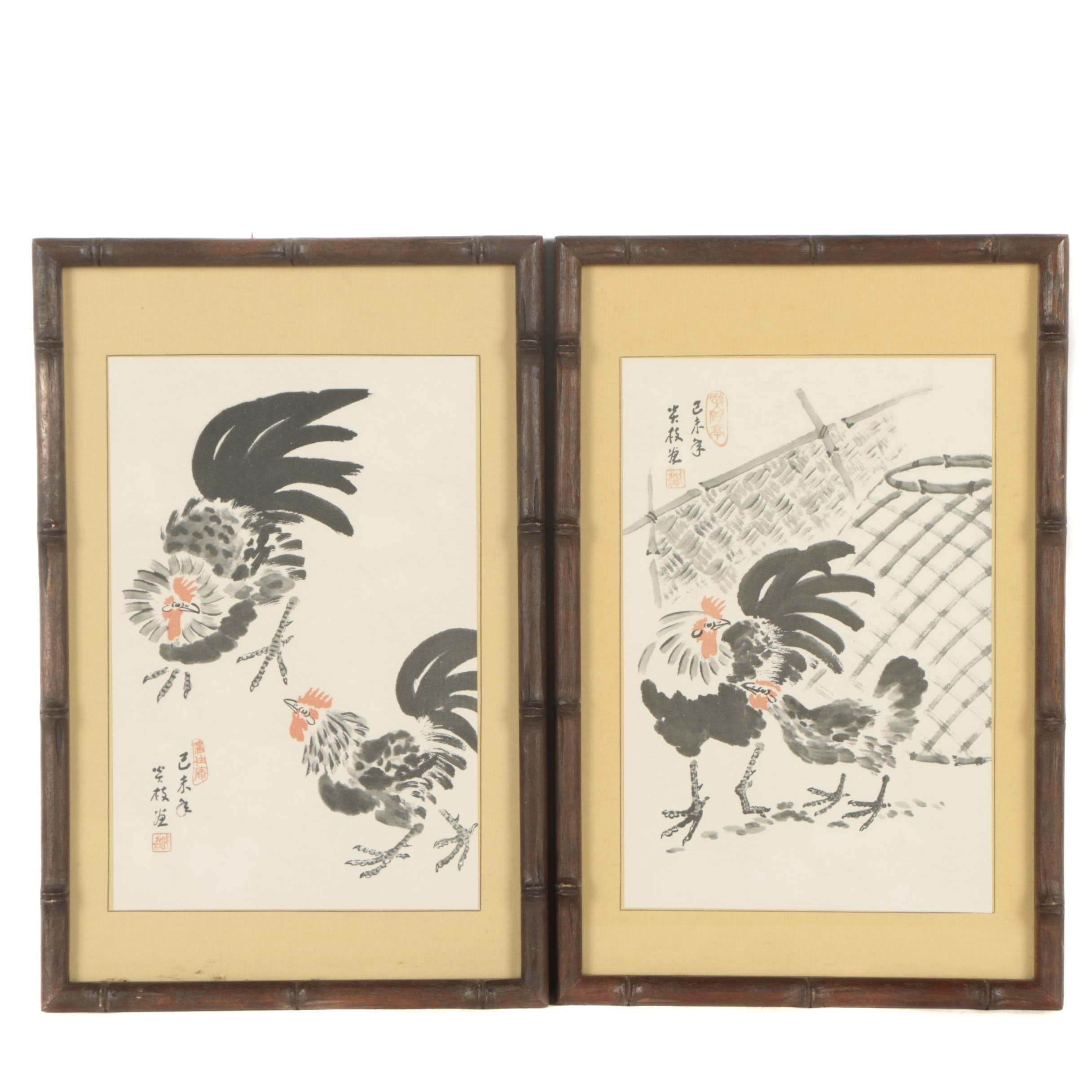 Offset Lithographs of Roosters
