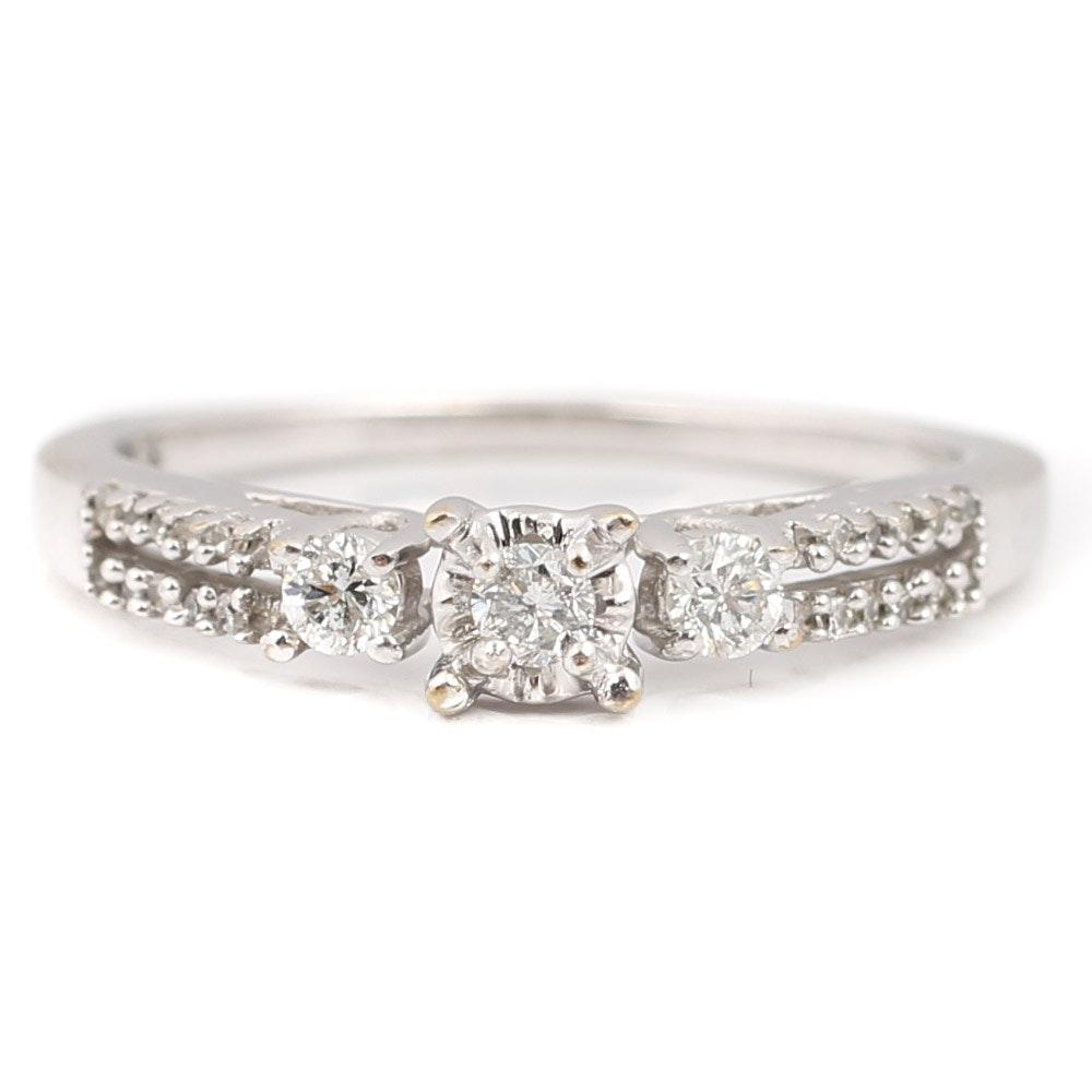 10K White Gold and Diamond Ring