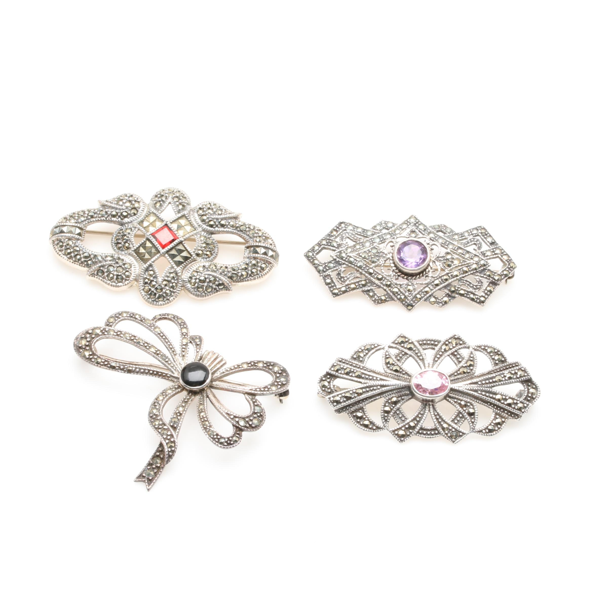 Collection of Sterling Silver Brooches Including Judith Jack
