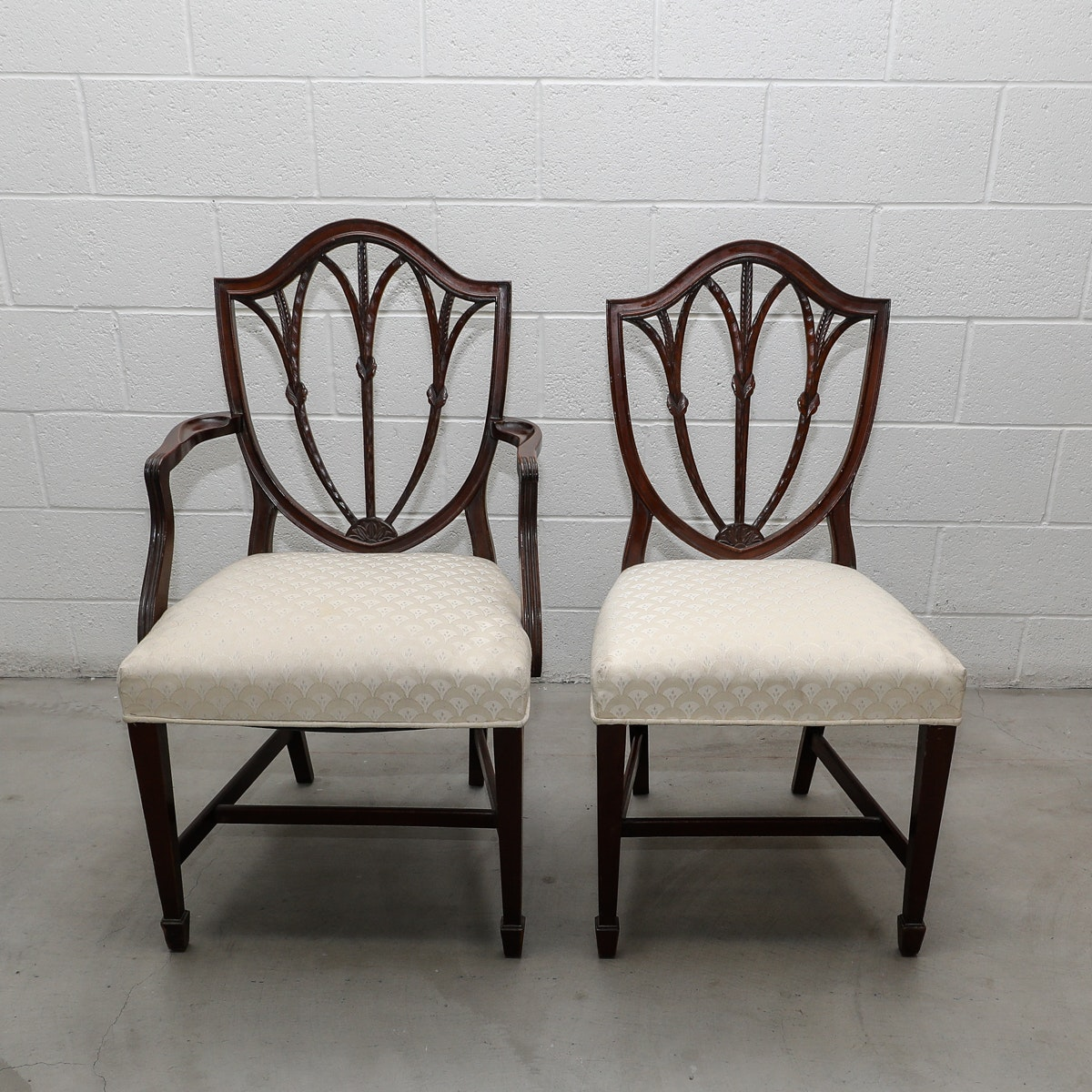 Eight Vintage Duncan Phyfe Style Shield Back Dining Chairs