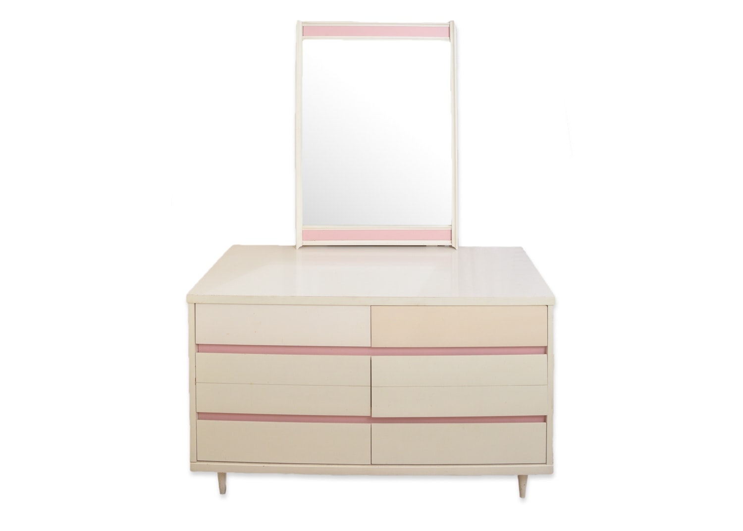 Mid Century Modern Dresser with Mirror in Cream and Pink Finish