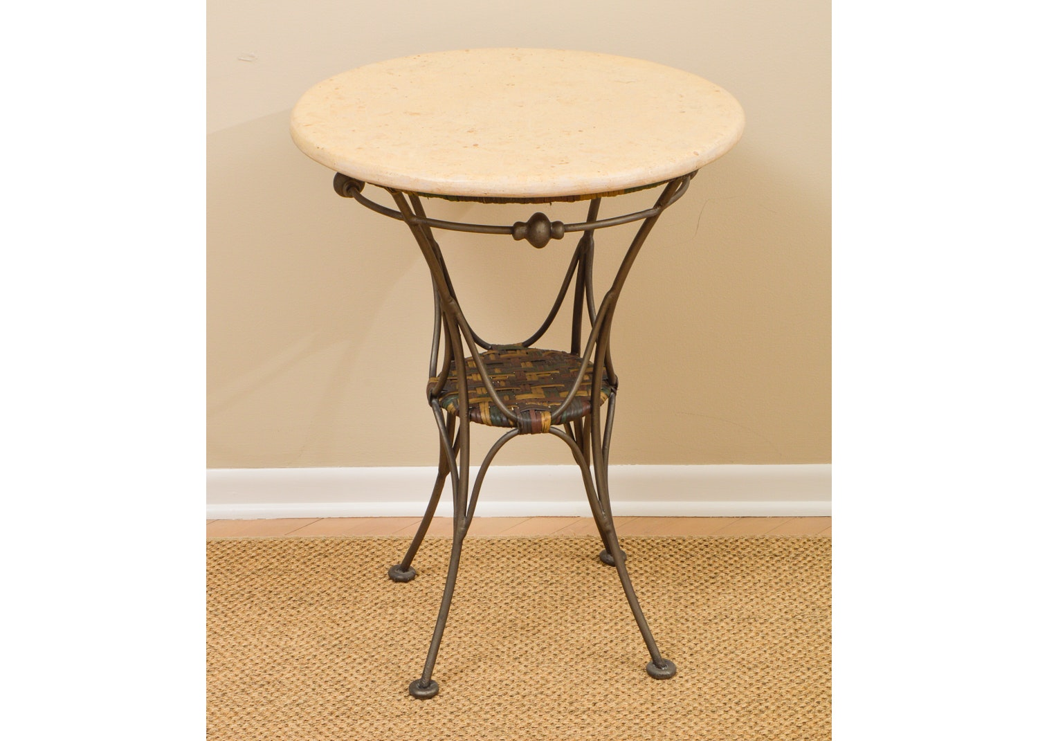 Round Stone Topped Side Table