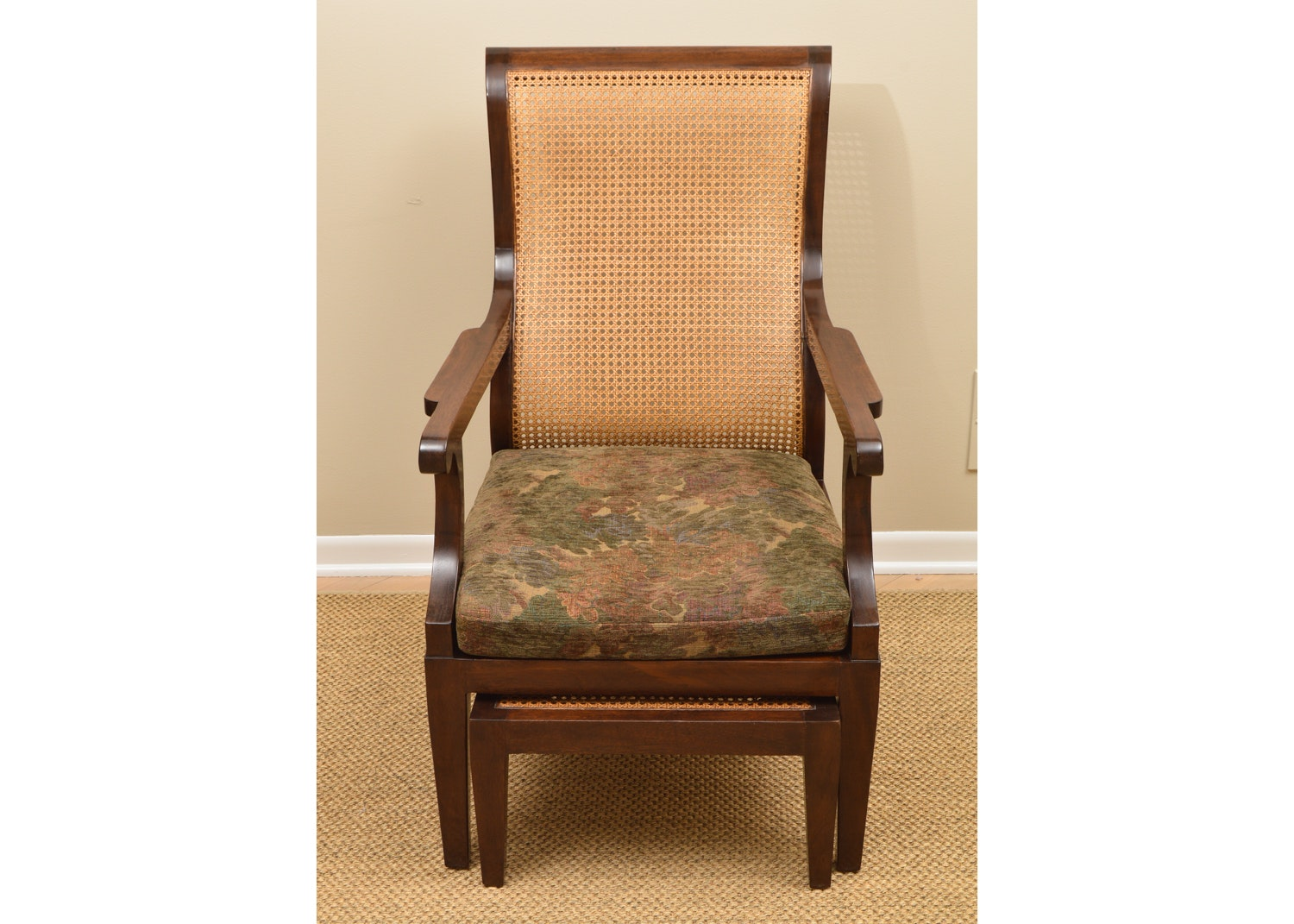 Cane Back Chair with Ottoman by Rose Tarlow for Holly Hunt