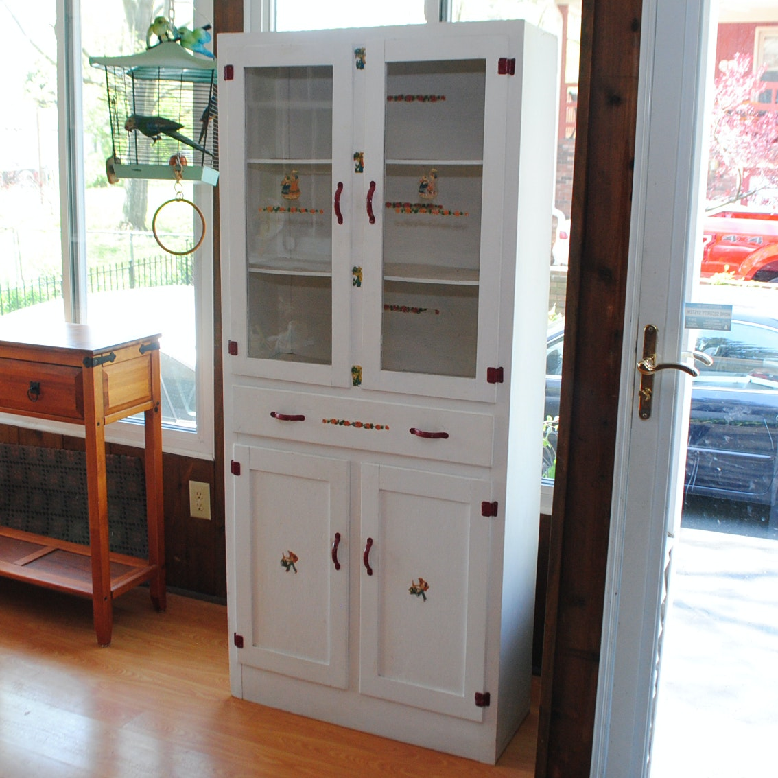 White Painted China Cabinet With Red Hardware Accents ...