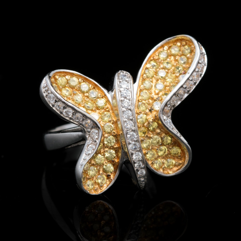 Sterling Silver and Yellow and White Cubic Zirconia Butterfly Ring