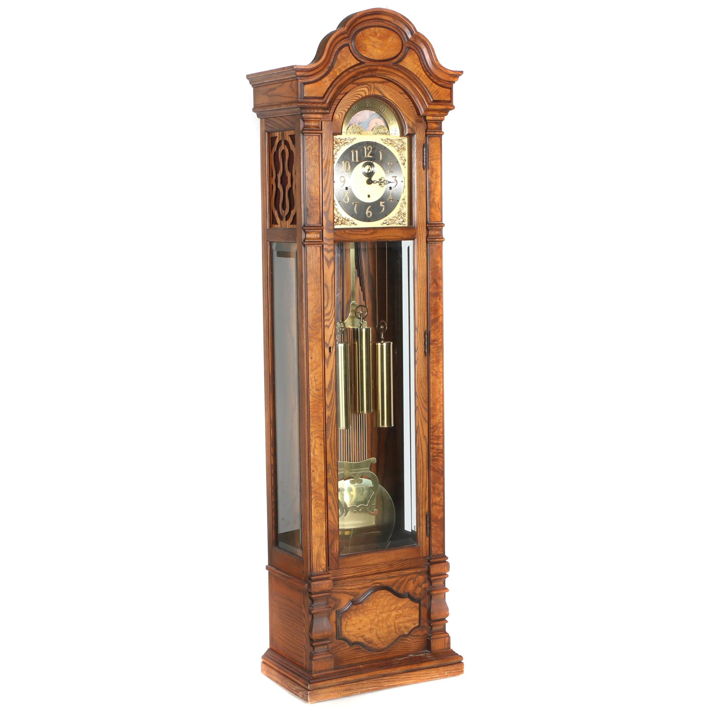 Colonial Oak Grandfather Clock with Moon Phase Dial