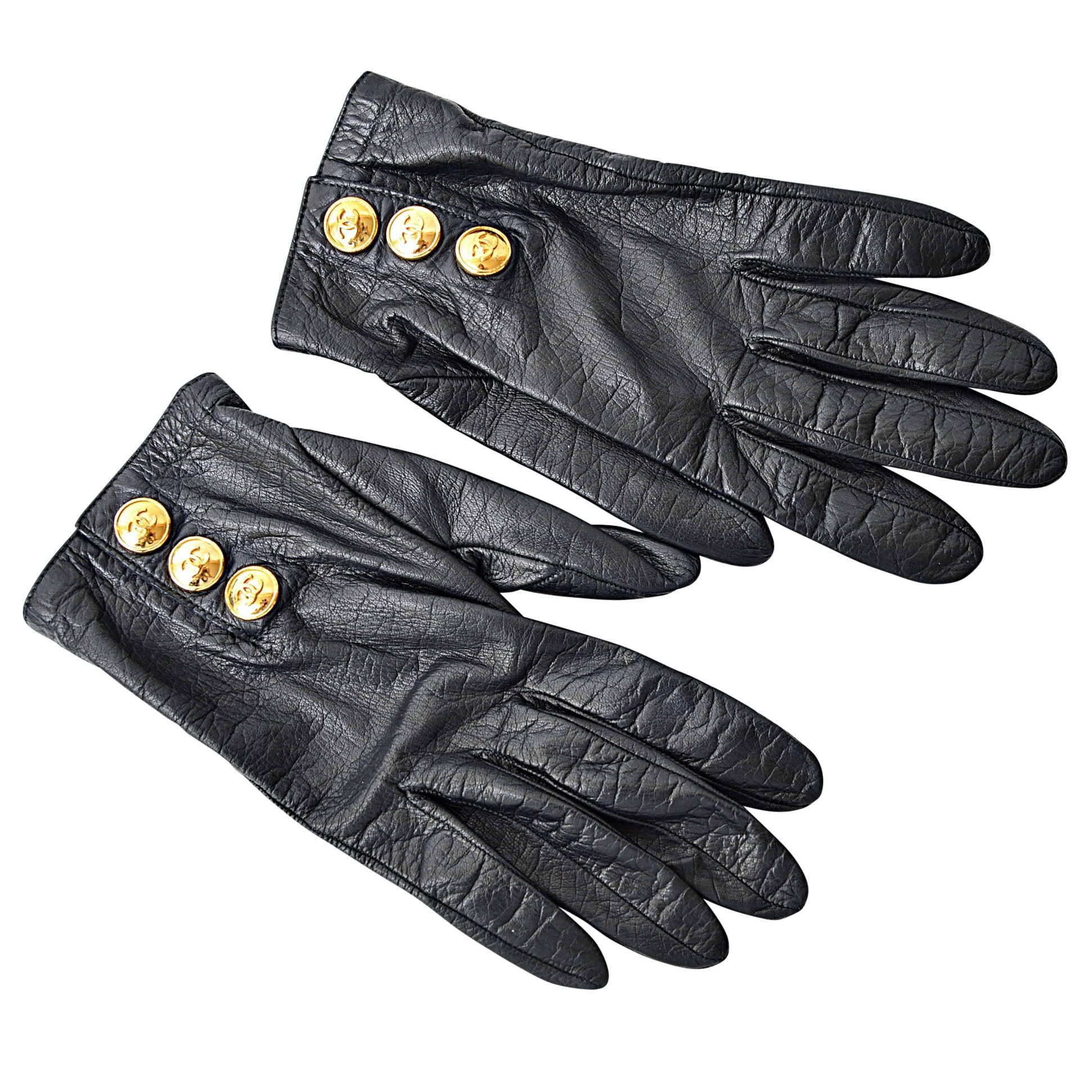 Vintage Chanel Black Leather Hand Gloves