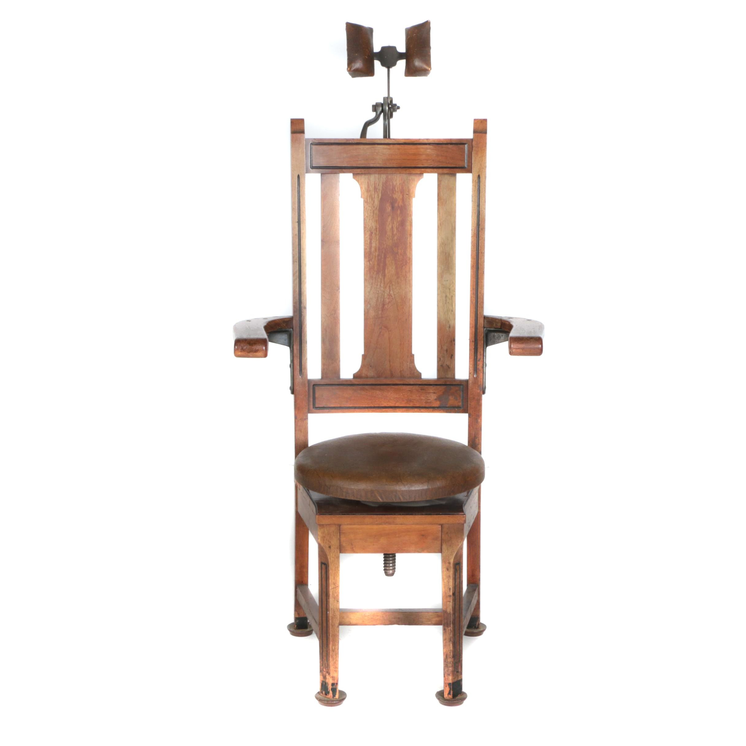 Wooden Dentist's Chair by W.D. Allison of Indianapolis