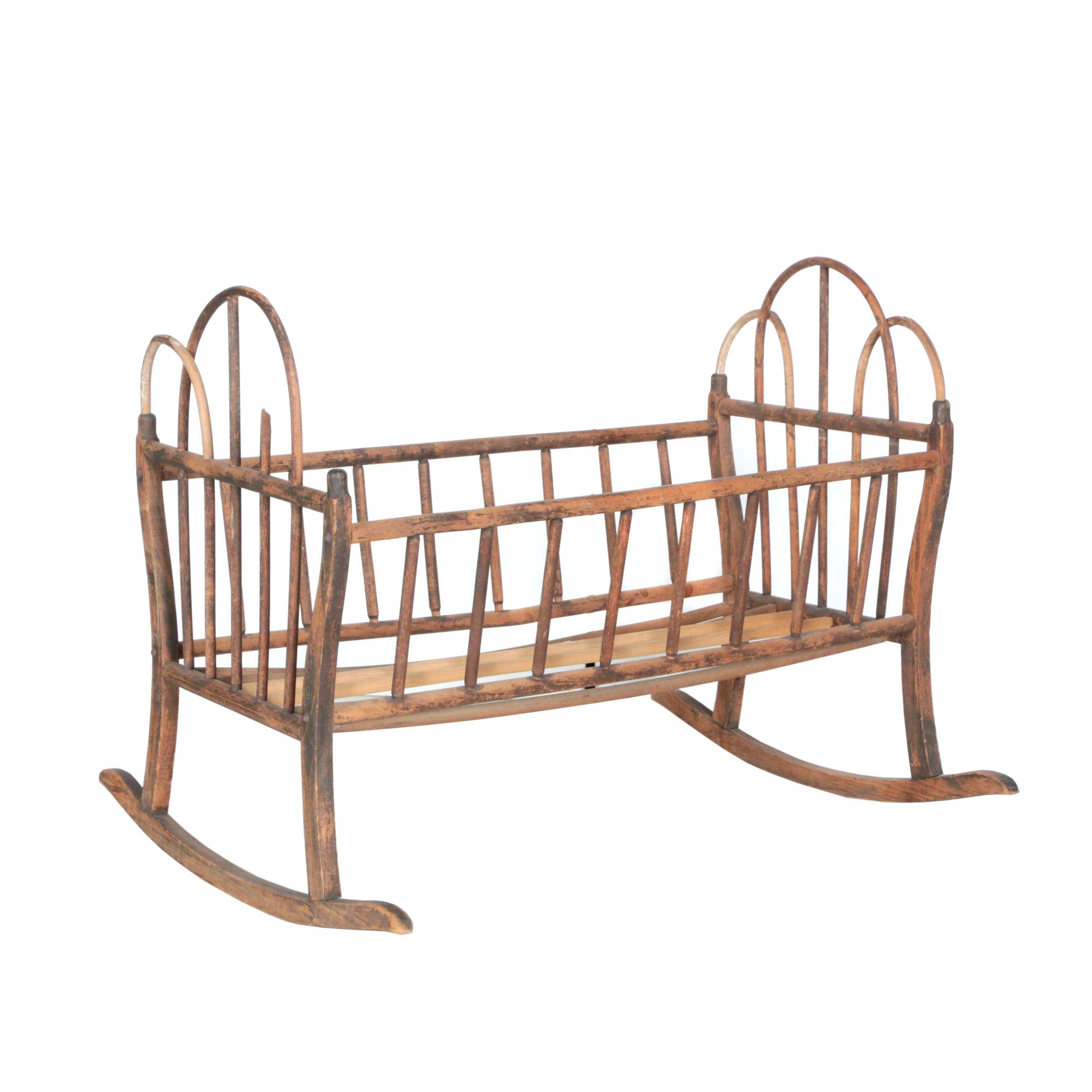 Antique Wooden Rocking Crib