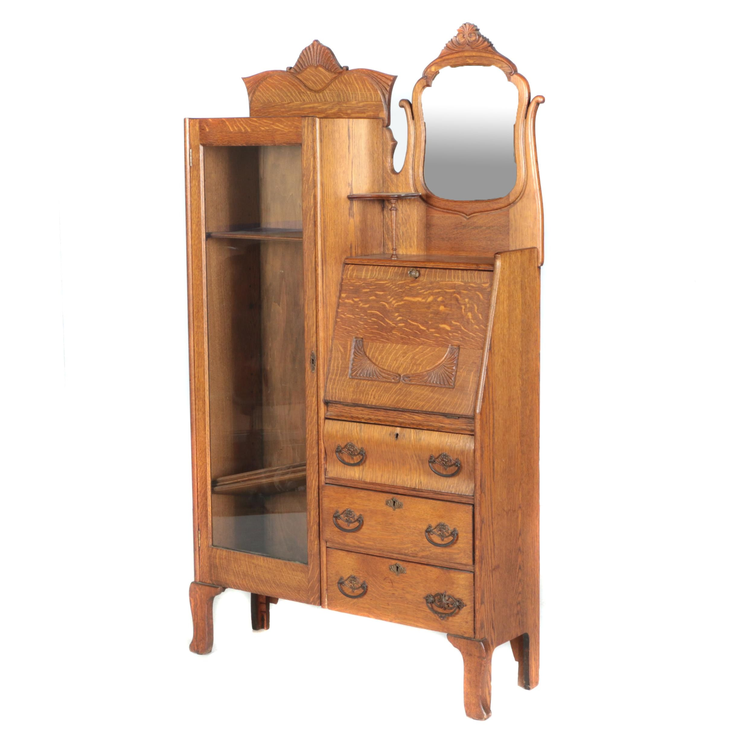Vintage Victorian Style Oak Side by Side Chifferobe with Fall Front and Mirror