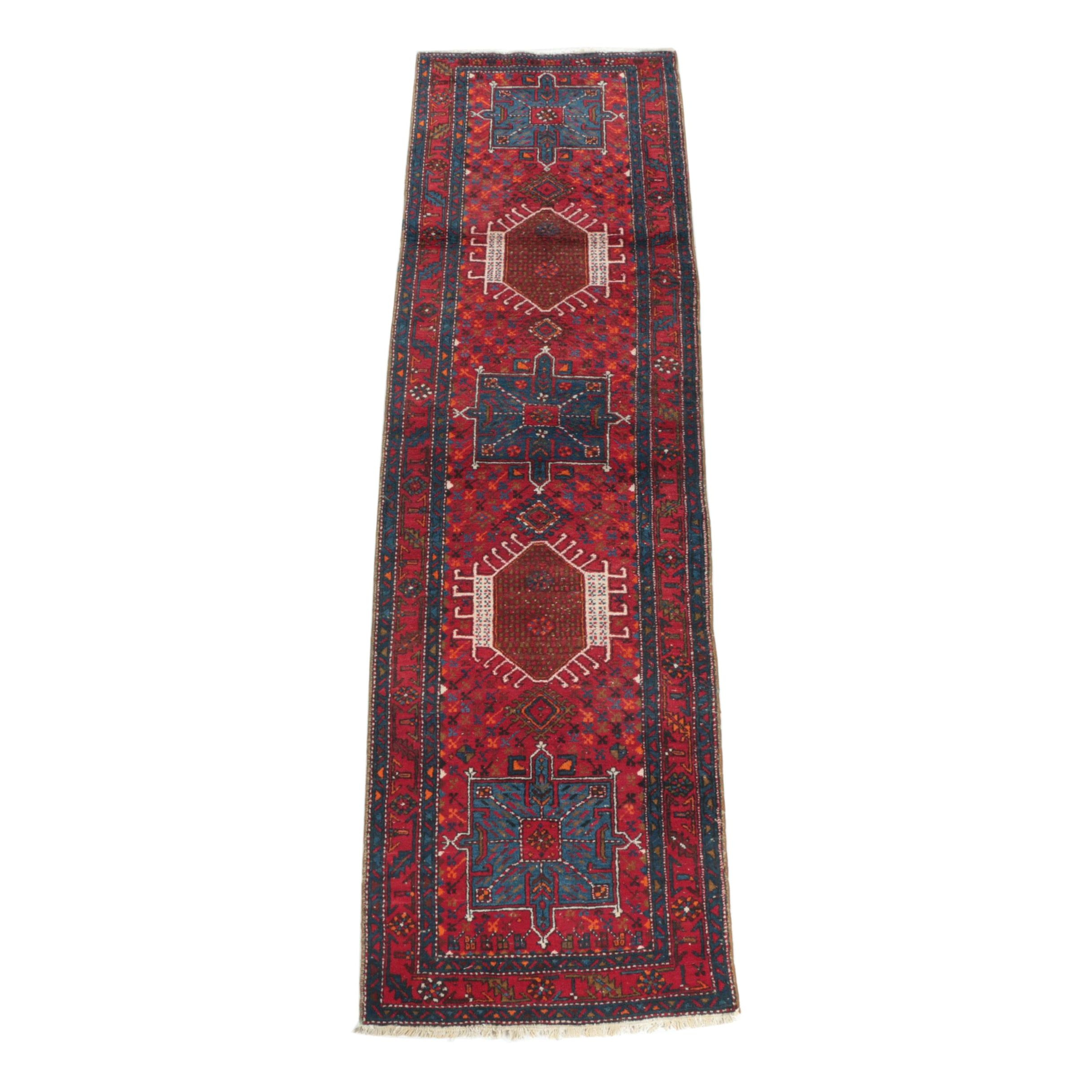 Hand-Knotted Persian Karaja Wool Carpet Runner