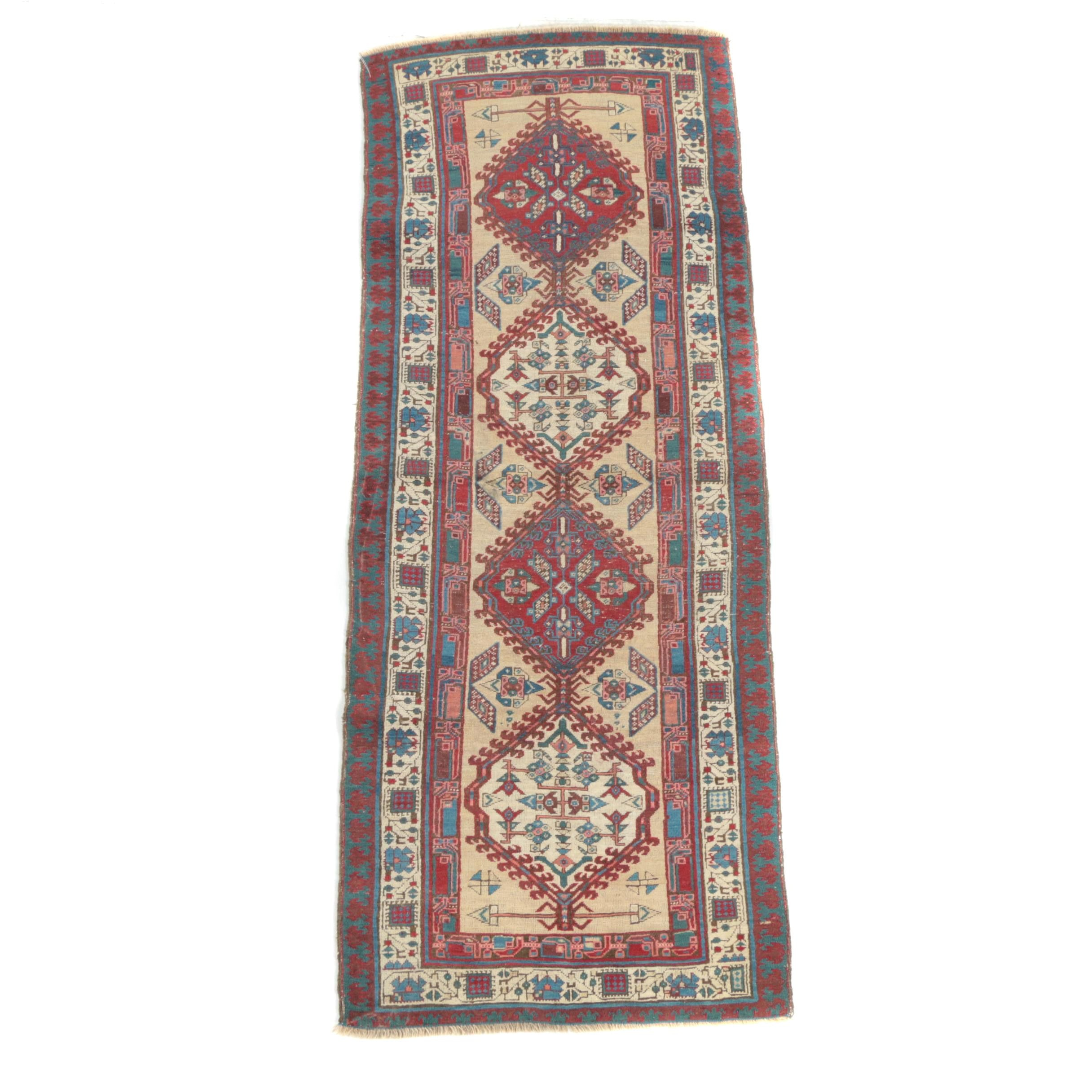 Hand-Knotted Caucasian Kazak Wool Carpet Runner