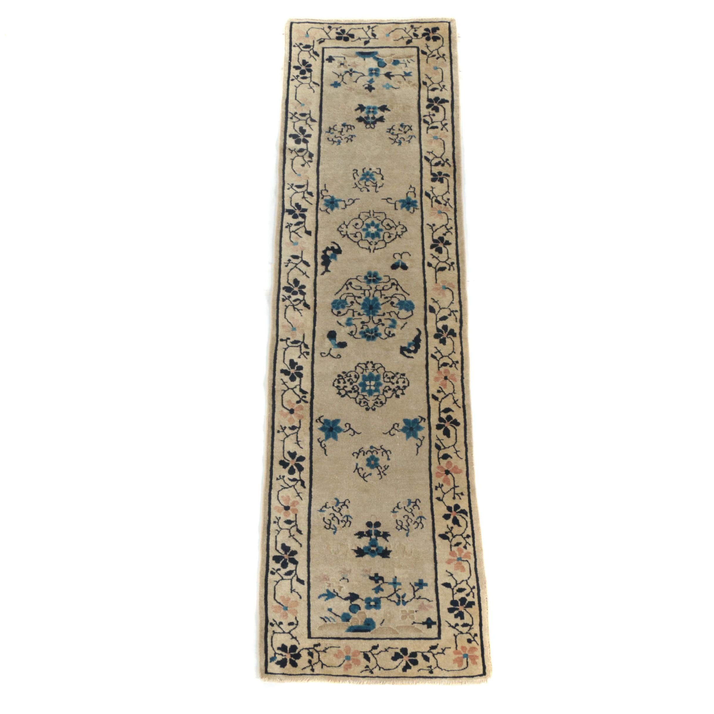 Hand-Knotted Carved Chinese Wool Carpet Runner