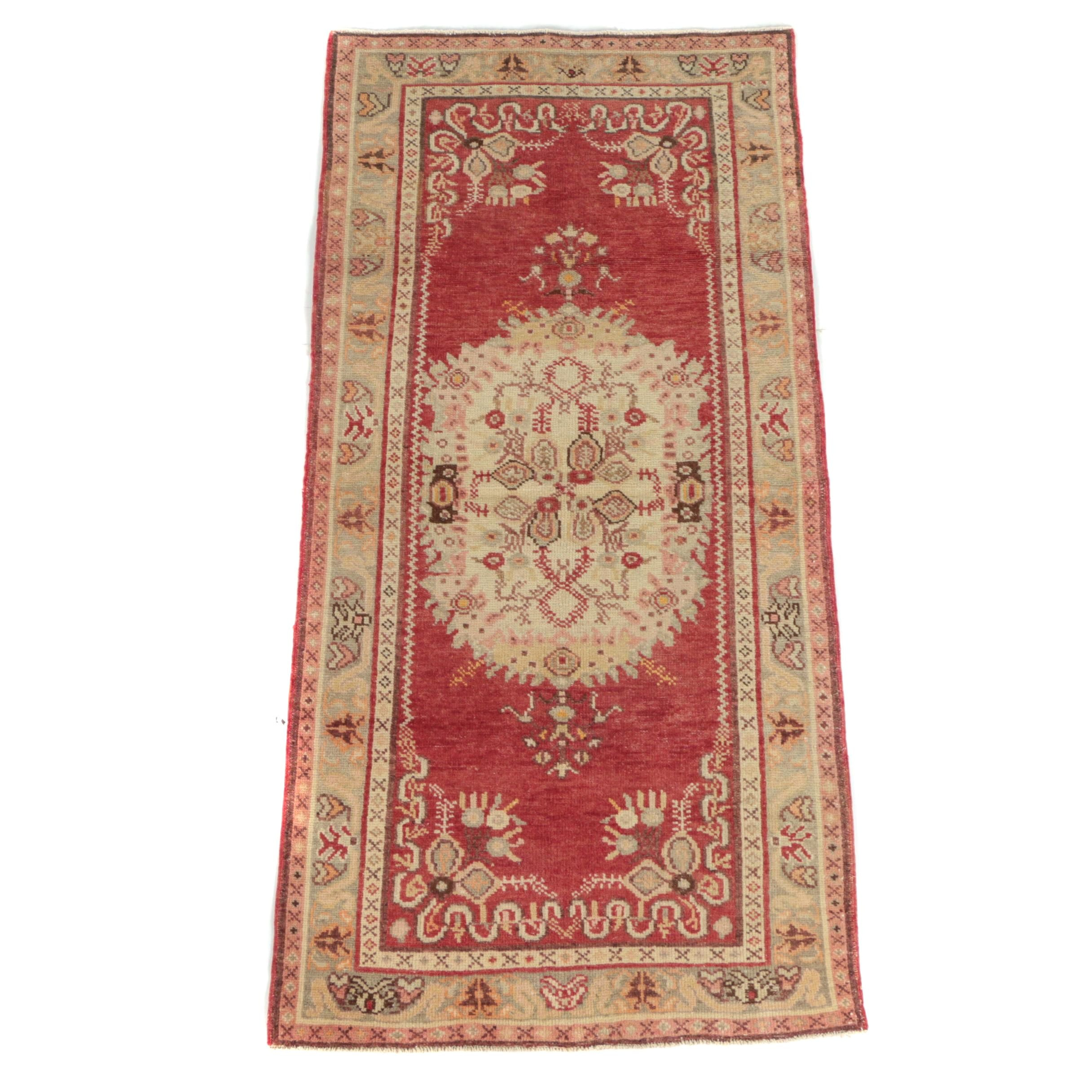 Hand-Knotted Turkish Wool Long Rug