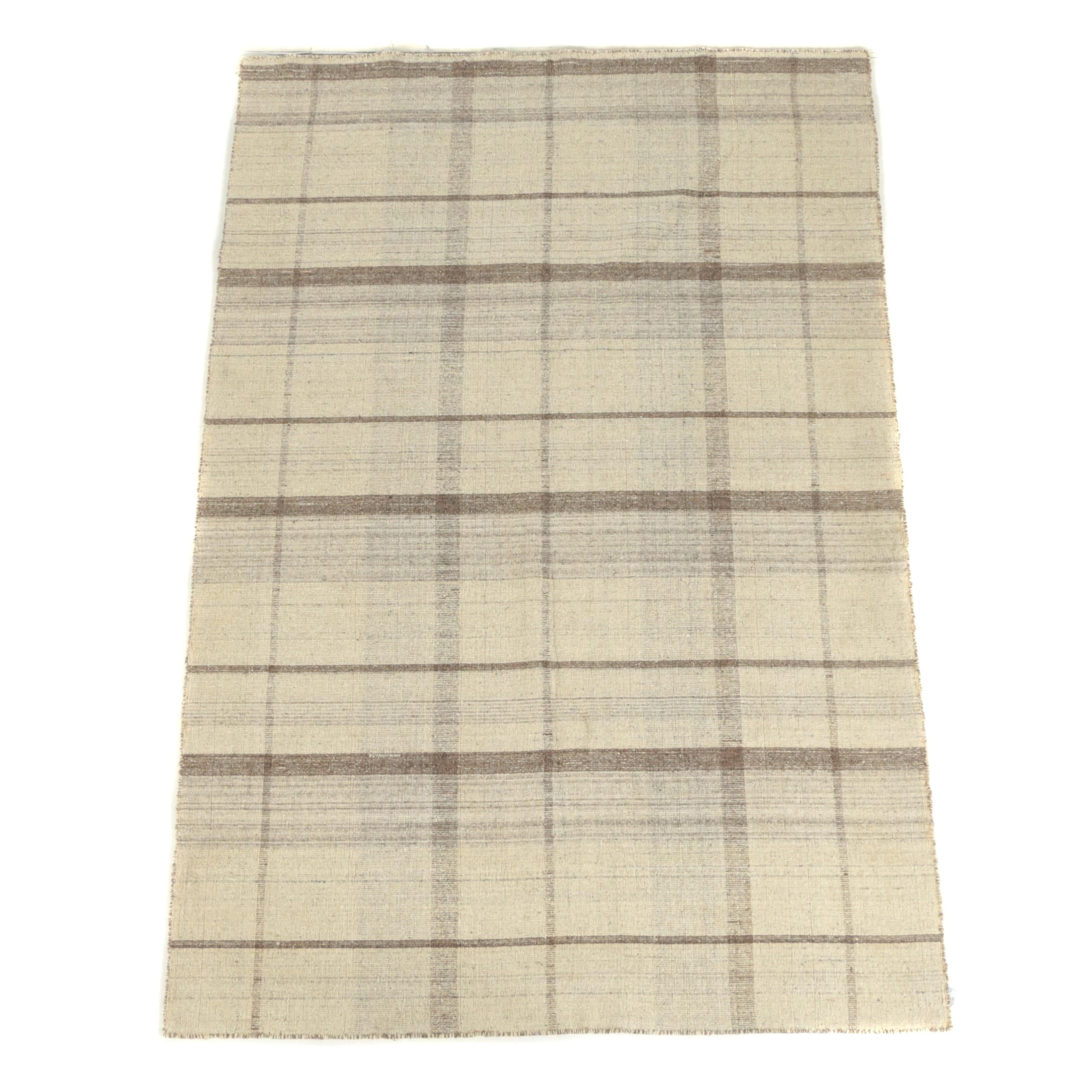 Woven Plaid Patterned Druggett Wool Area Rug