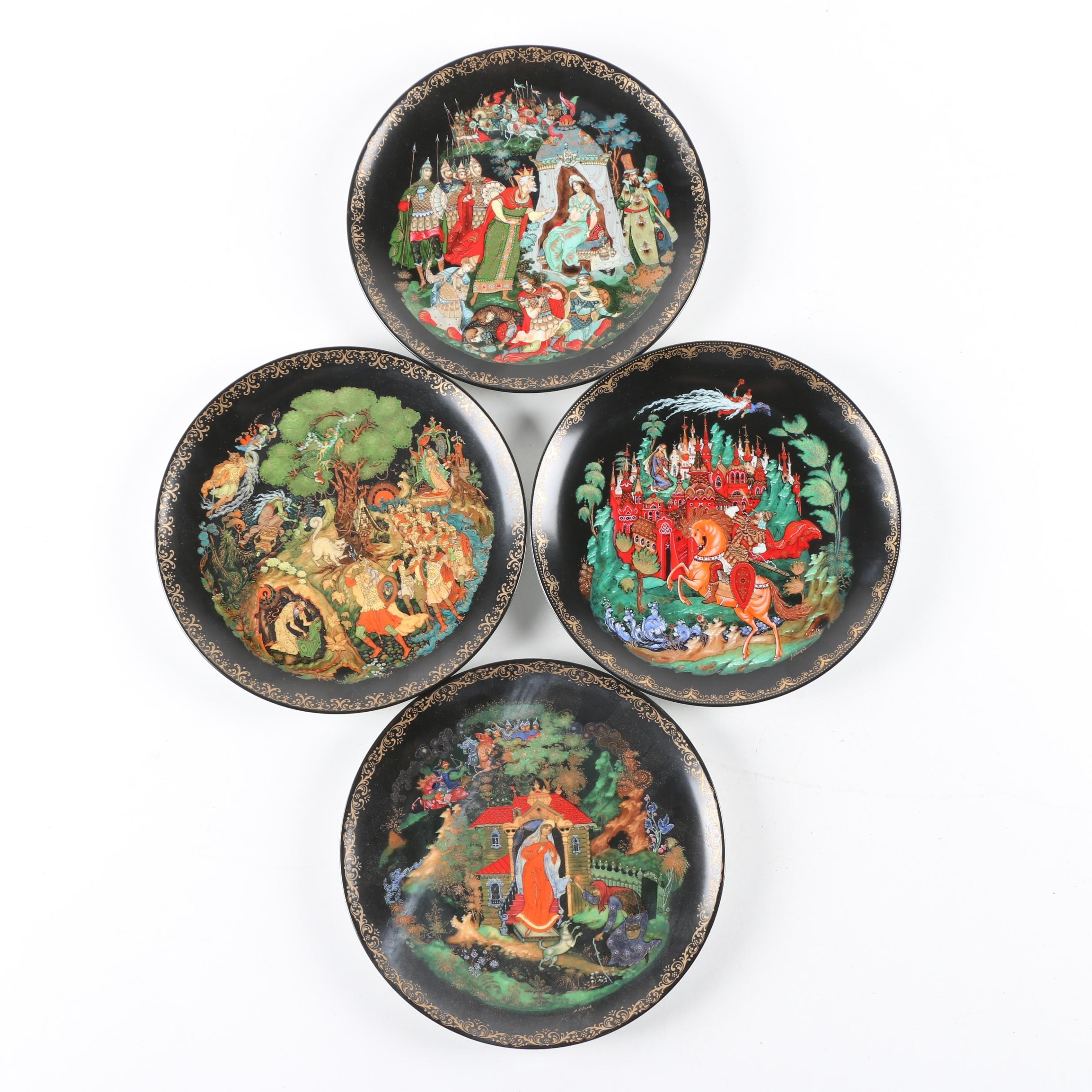 1980s Bradex Russian Folklore Porcelain Collector Plates