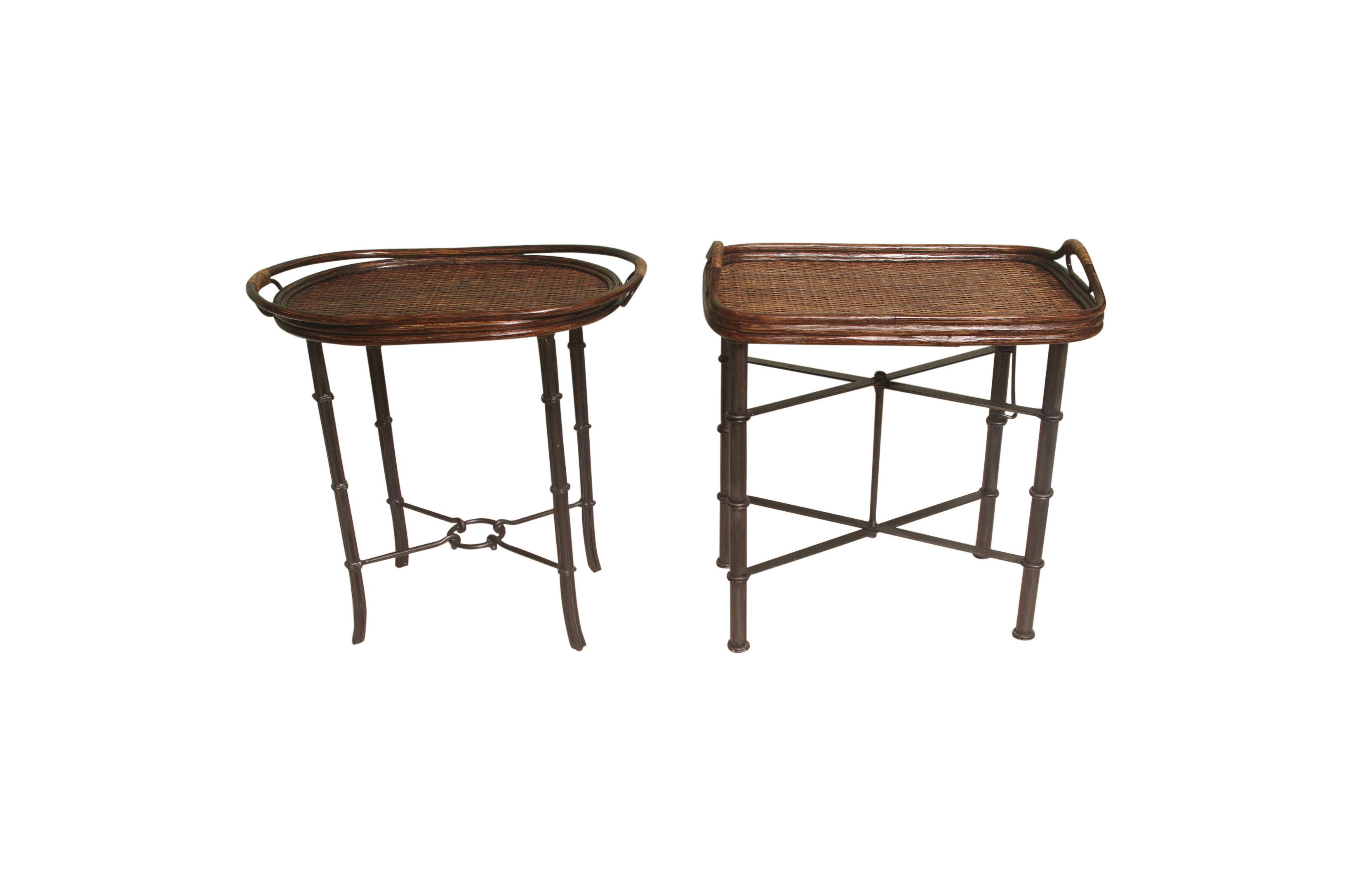 Pair of Maitland Smith Wicker and Rattan Style Tray Tables