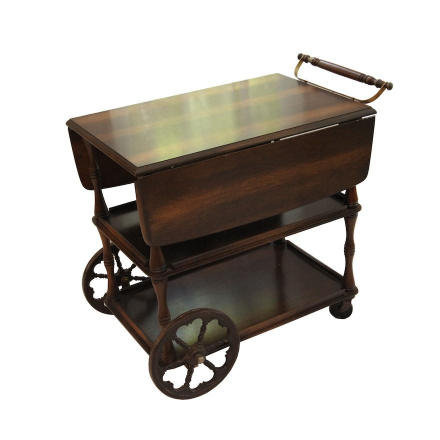 Vintage Wooden Wagon Wheel Drop Leaf Tea Cart