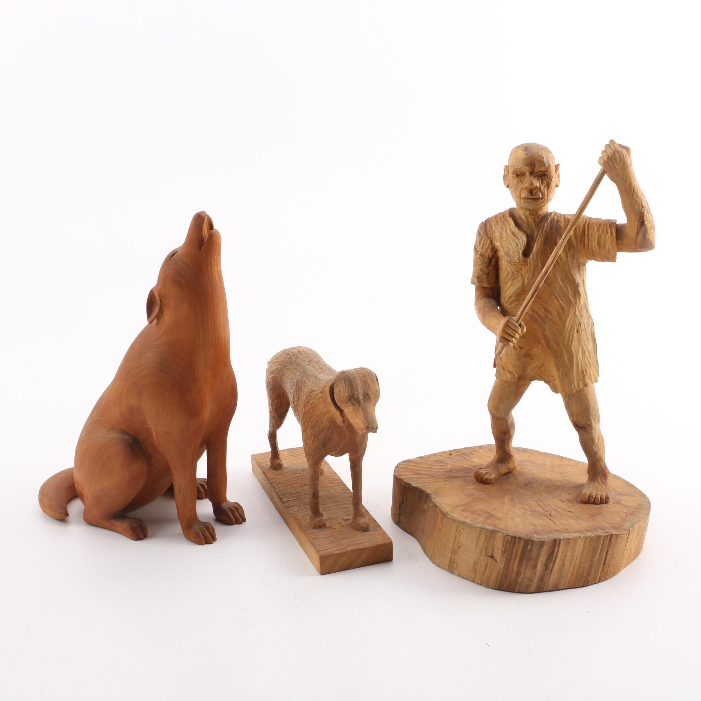 Carved Wooden Woodland Figurines