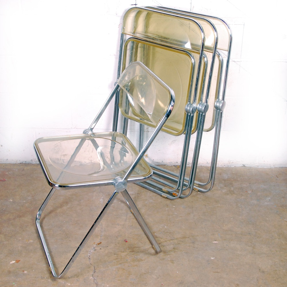 Set of Four Vintage Stainless Steel and Clear Acrylic Folding Chairs