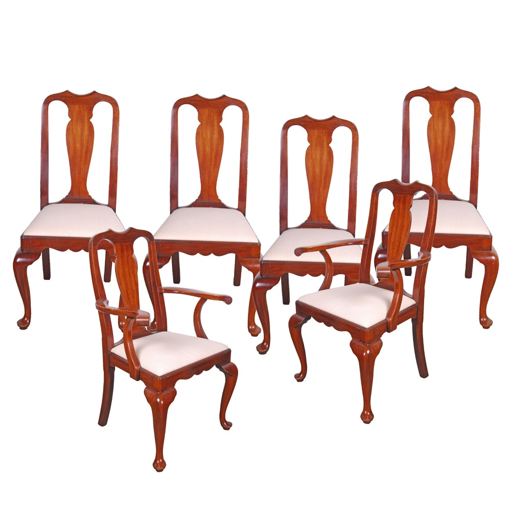 Vintage Queen Anne Style Mahogany Dining Chairs by Henkel-Harris