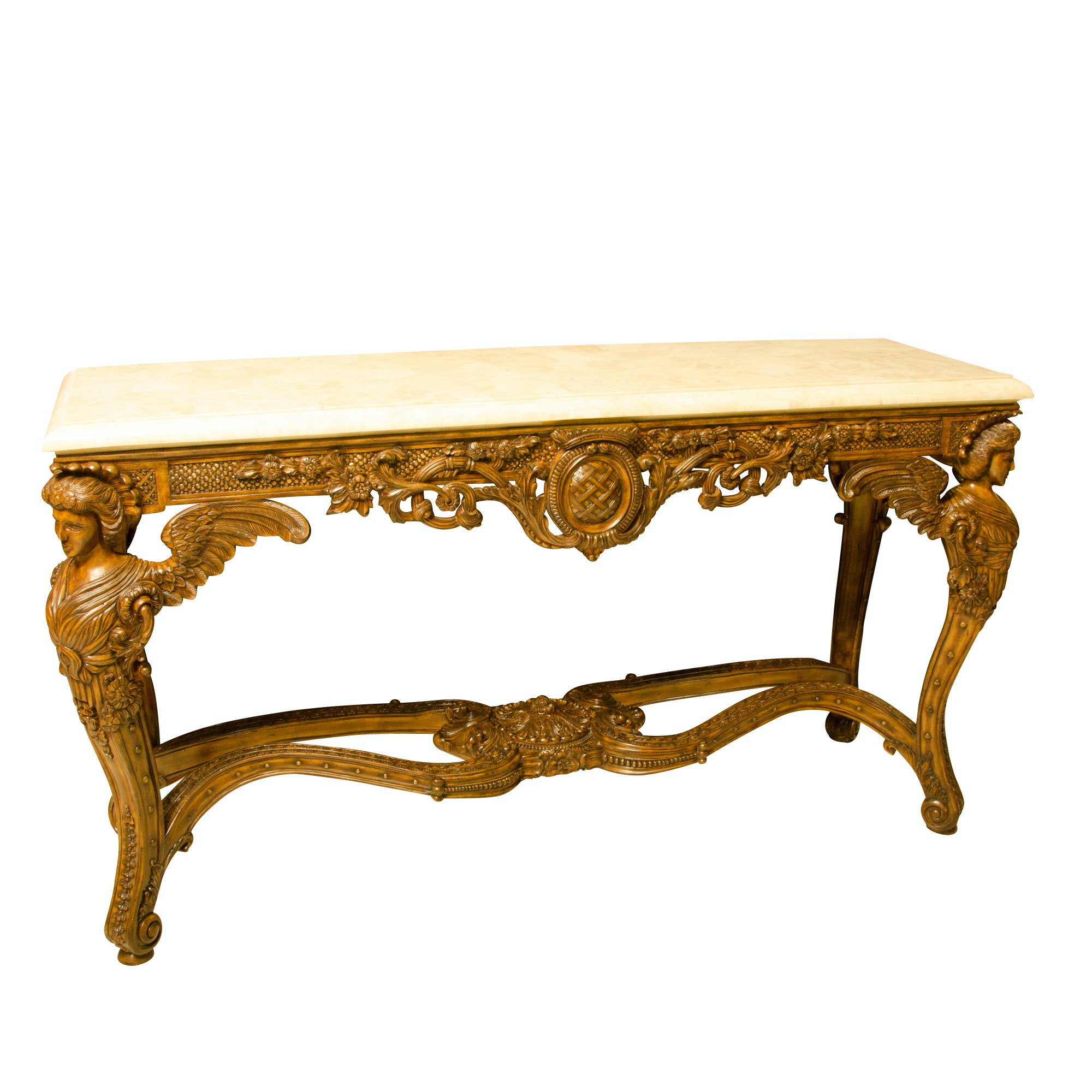 Ornate Console Table with Stone Top