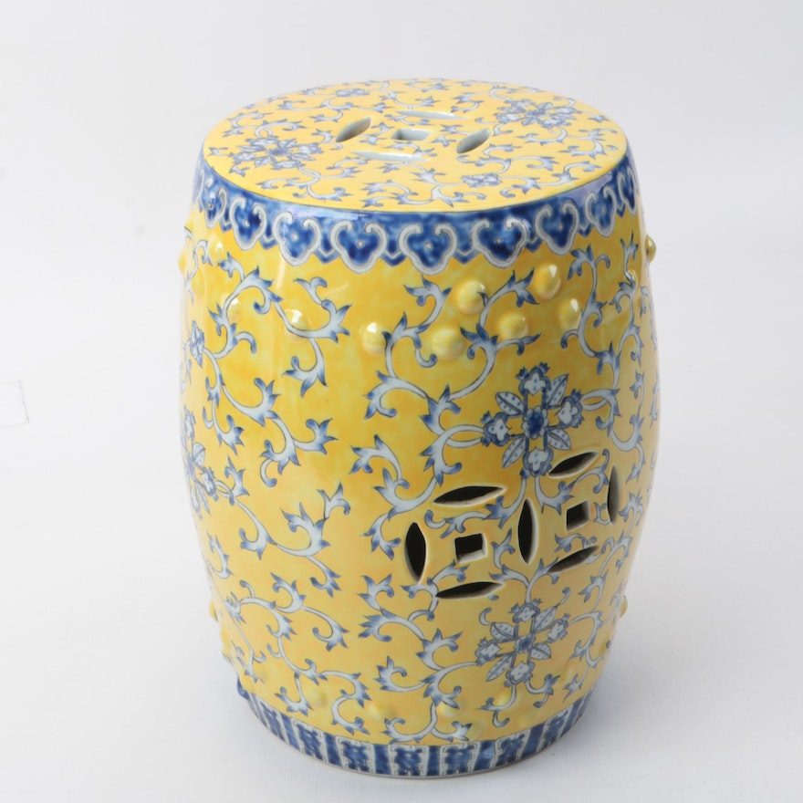 Chinese Yellow And Cobalt Blue Porcelain Garden Stool