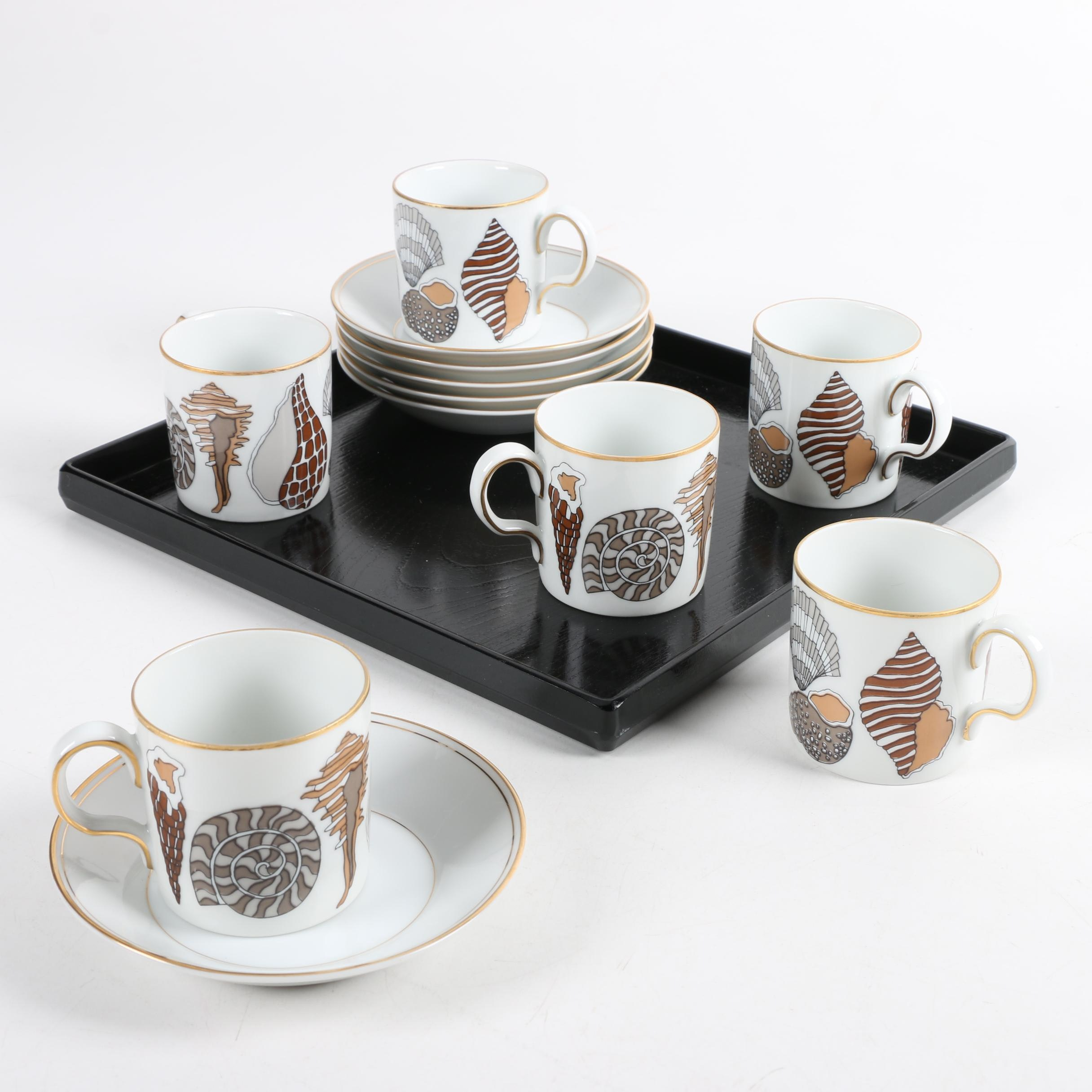 Fitz and Floyd for Neiman Marcus Seashell Porcelain Teacup Set