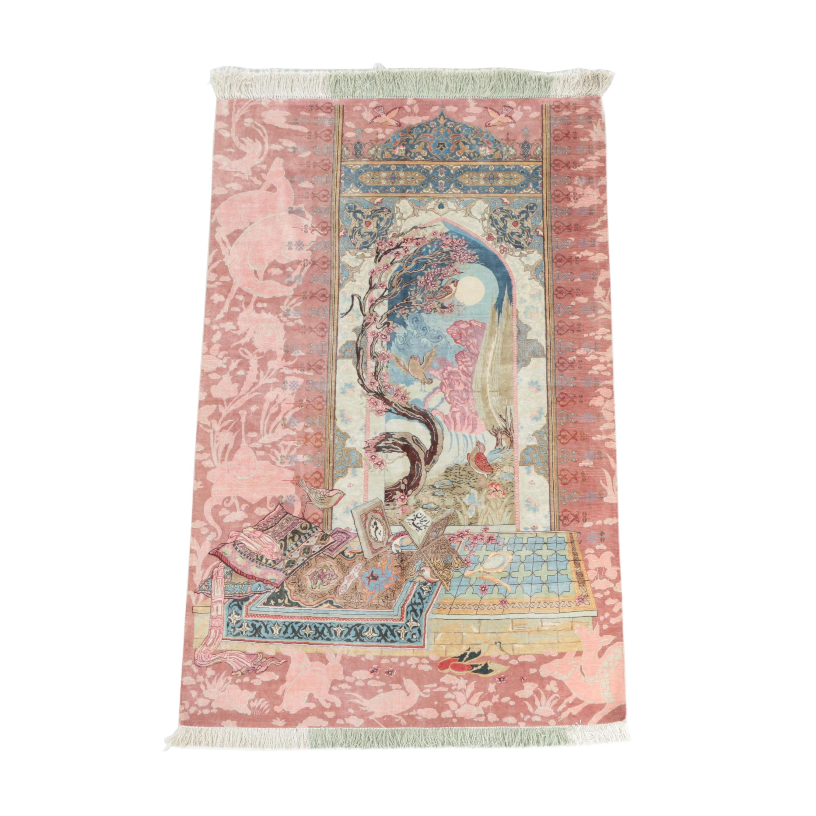 Finely Hand-Knotted Persian Qum Pictorial Silk  Area Rug